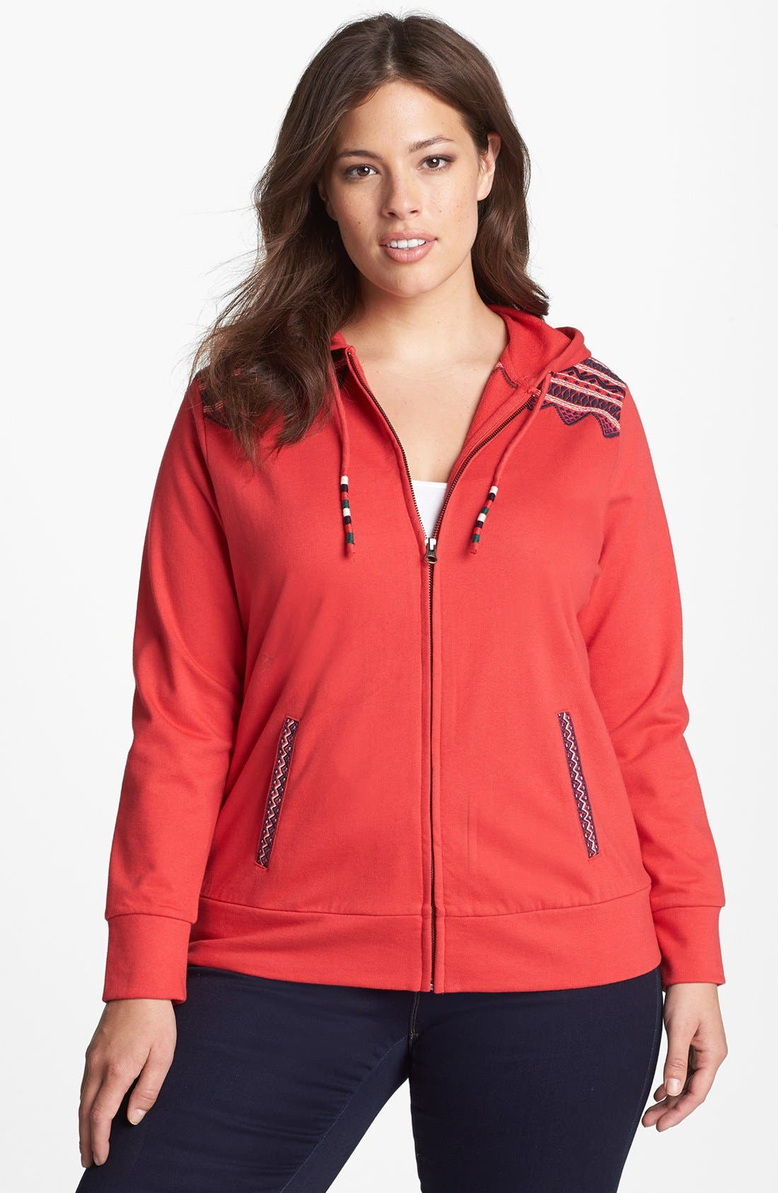 Alternate Image 1 Selected - Lucky Brand Embroidered Trim Front Zip Hoodie (Plus Size)