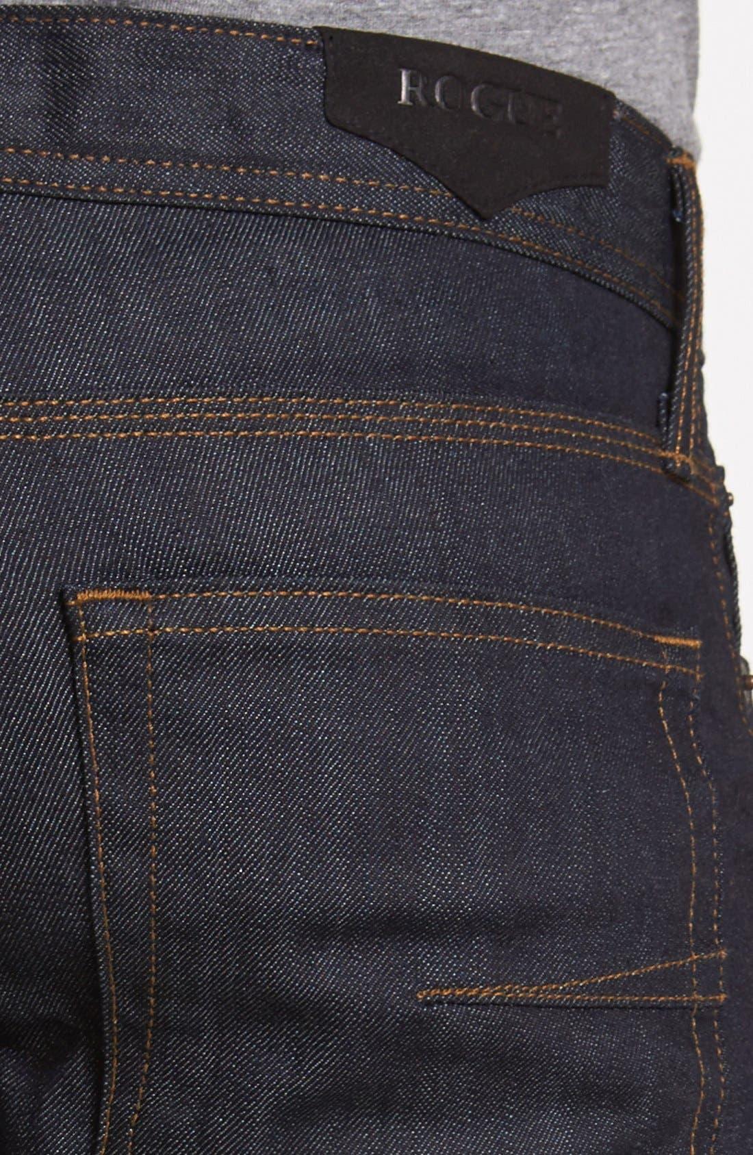 Alternate Image 4  - Rogue 'Ruffian' Slim Straight Leg Jeans (Dark Blue)
