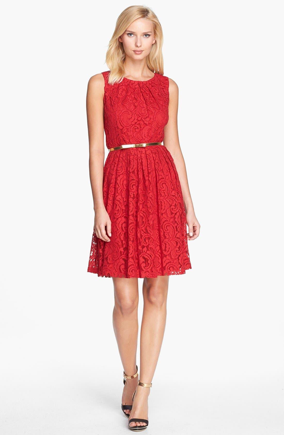 Alternate Image 1 Selected - Ellen Tracy Lace Fit & Flare Dress (Regular & Petite)