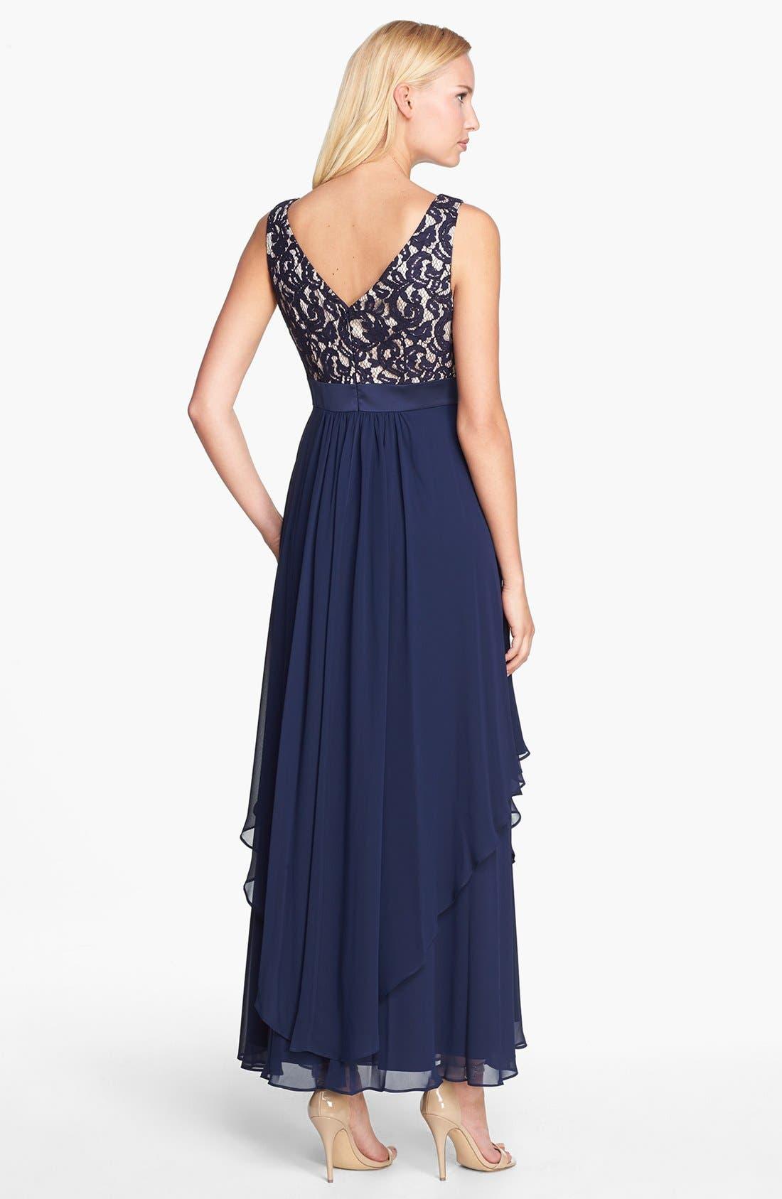 Alternate Image 2  - Eliza J Lace & Chiffon Gown