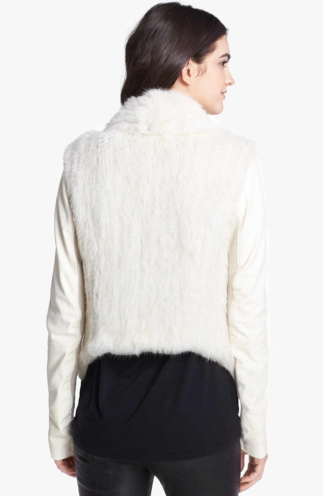 Alternate Image 2  - June Genuine Rabbit Fur & Leather Coat