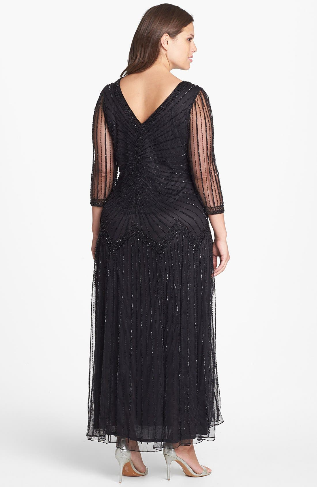 Alternate Image 2  - Pisarro Nights Embellished Illusion Sleeve Mesh Gown (Plus Size)