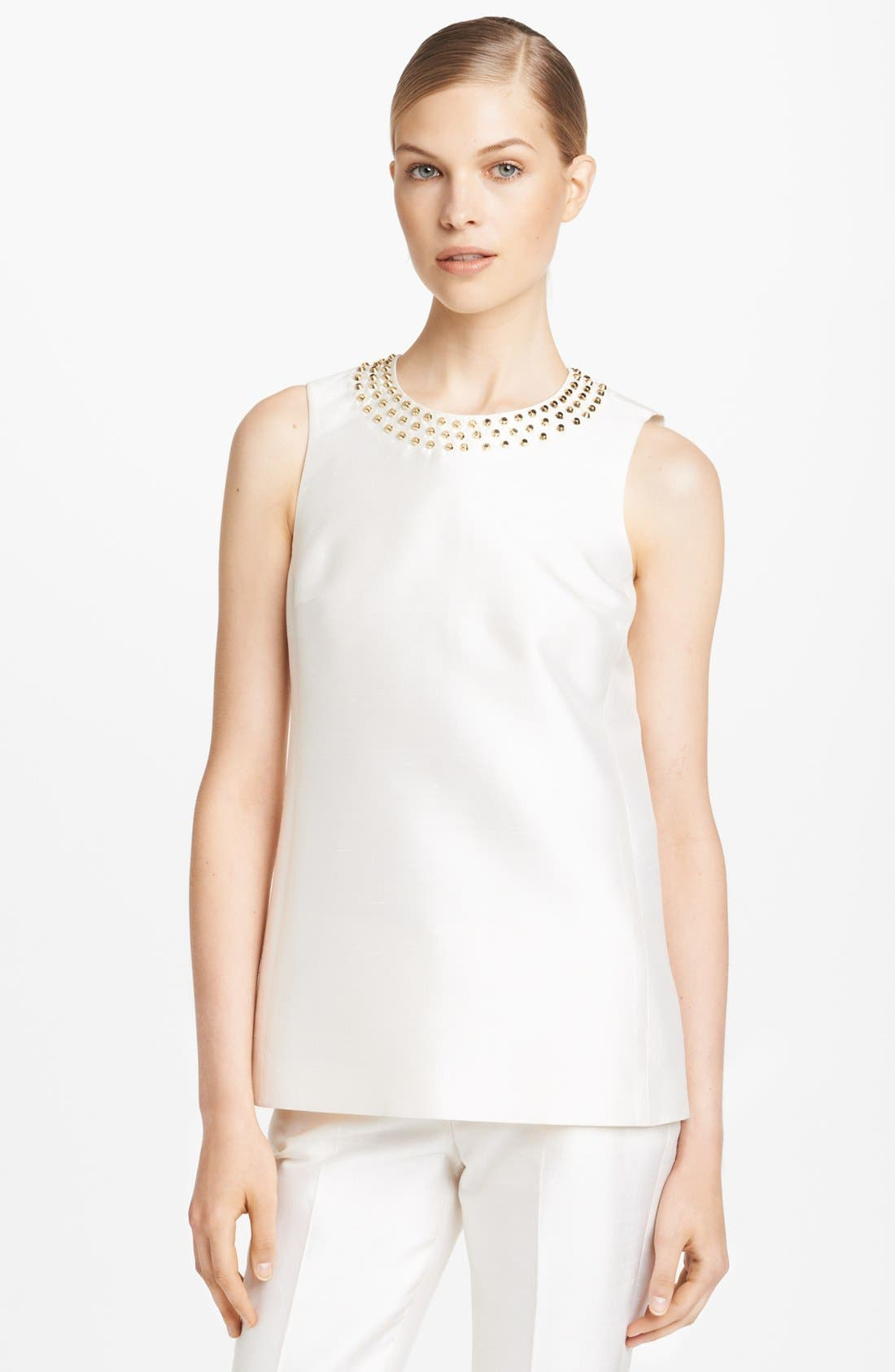 Main Image - Michael Kors Studded Silk & Wool Top