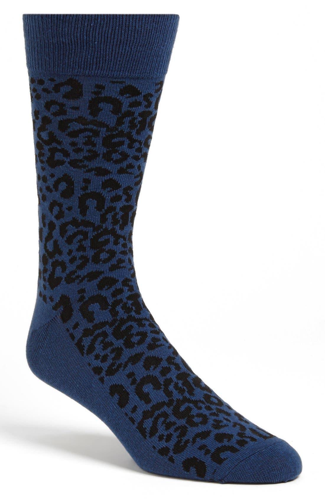 Main Image - Topman Leopard Spot Socks