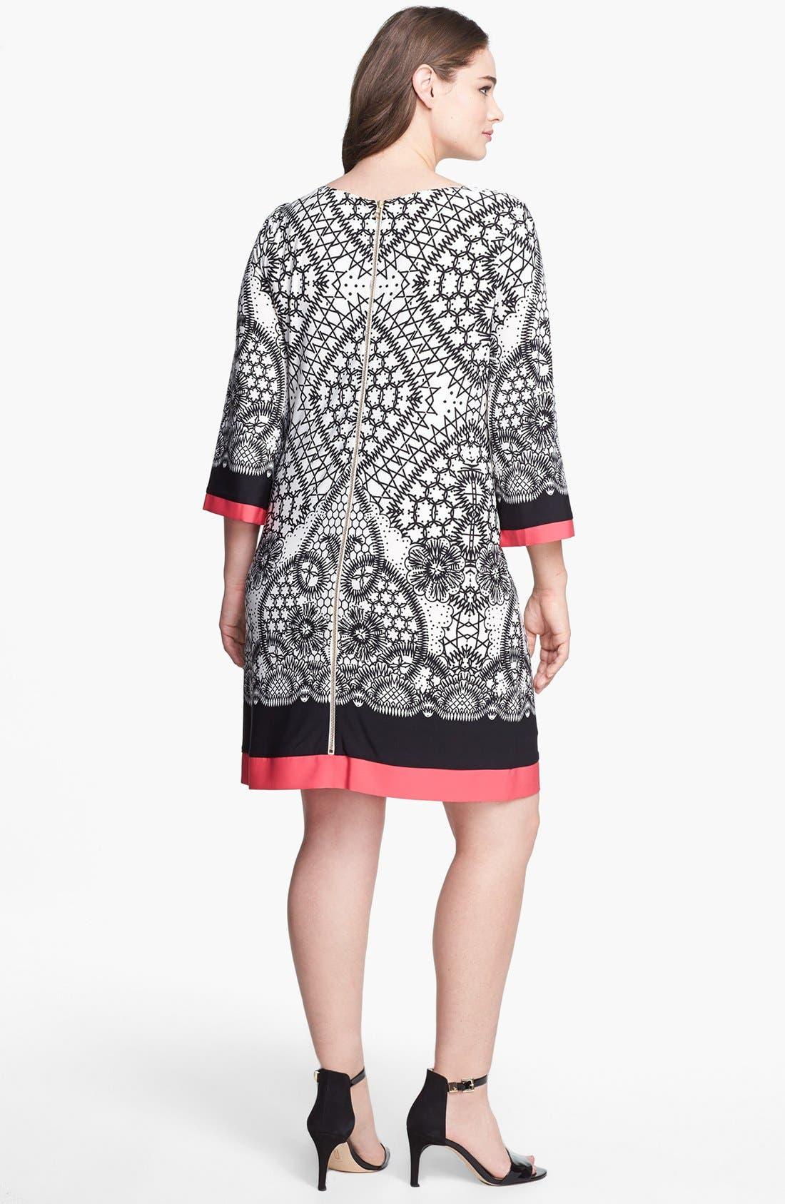 Alternate Image 2  - Eliza J Print Jersey Shift Dress (Plus Size)