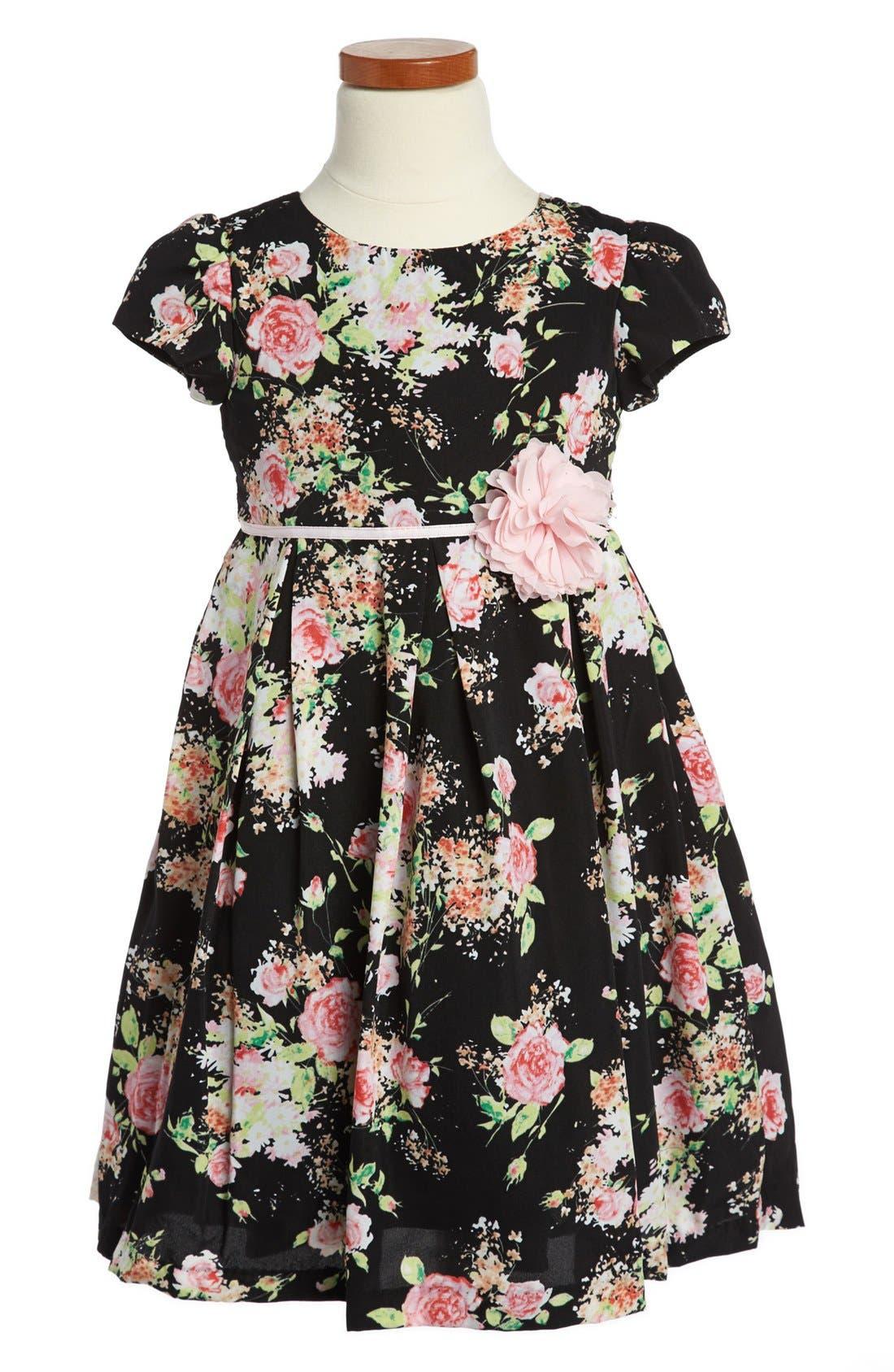 Main Image - Pippa & Julie Floral Print Dress (Little Girls)
