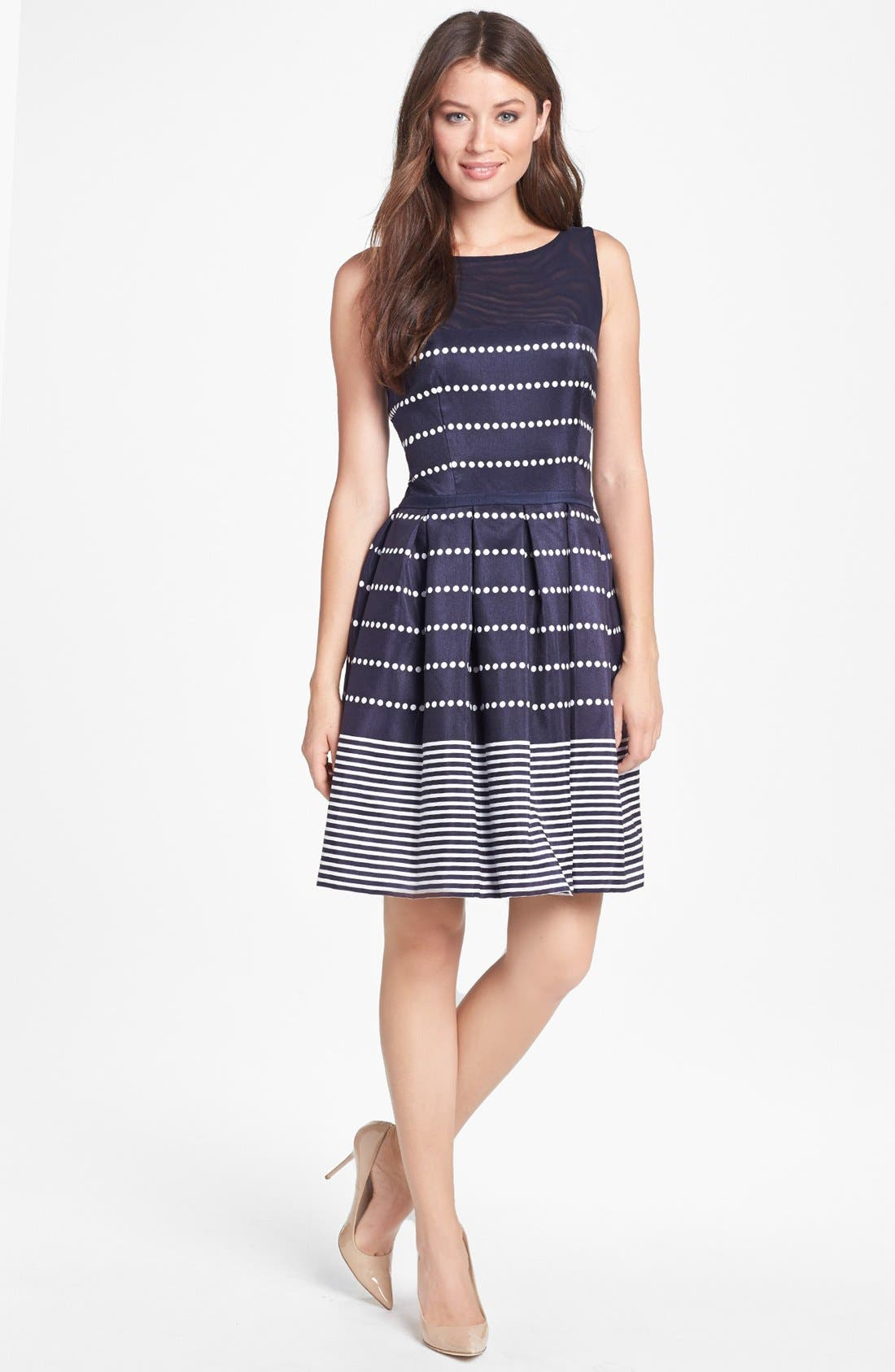 Alternate Image 1 Selected - Taylor Dresses Polka Dot Stripe Fit & Flare Dress