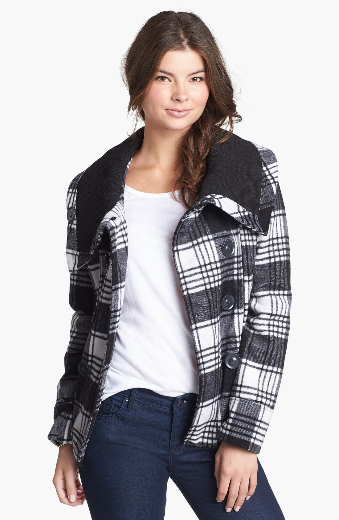 Alternate Image 1 Selected - Dollhouse Double Breasted Plaid Coat (Juniors) (Online Only)
