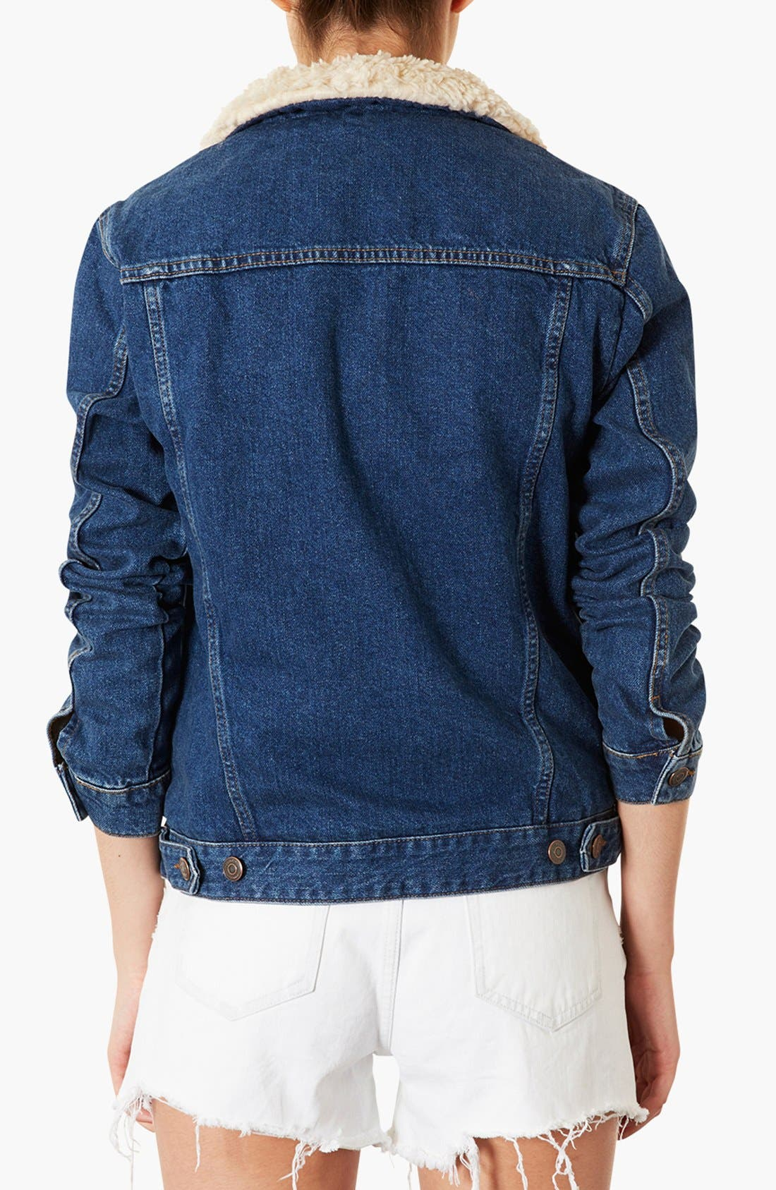 Alternate Image 2  - Topshop Moto Fleece Lined Denim Jacket