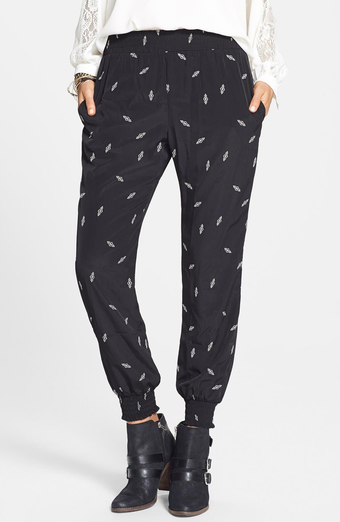 Main Image - Socialite Print Woven Track Pants (Juniors)