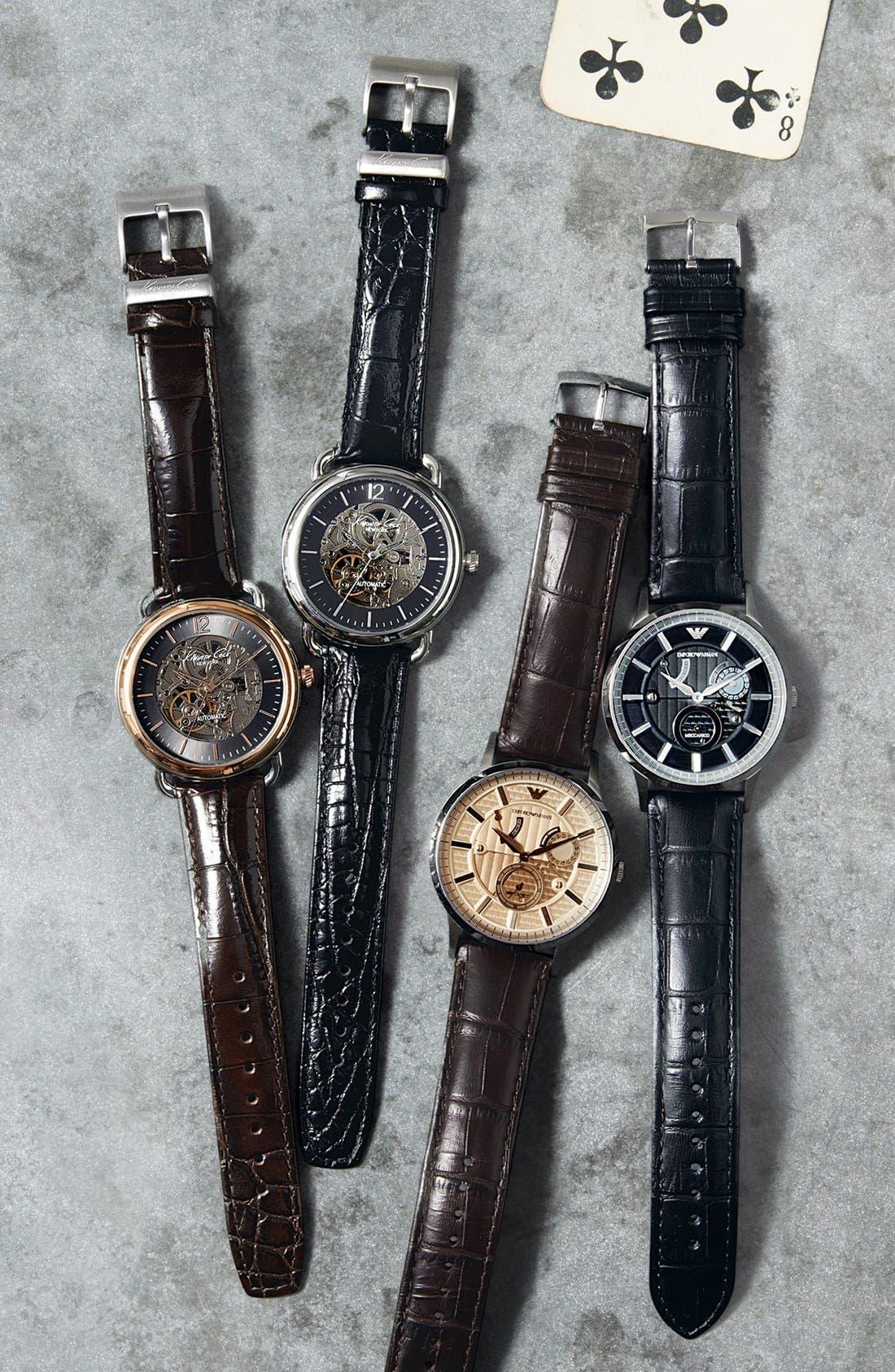 Alternate Image 4  - Emporio Armani Meccanico Automatic Leather Strap Watch, 43mm
