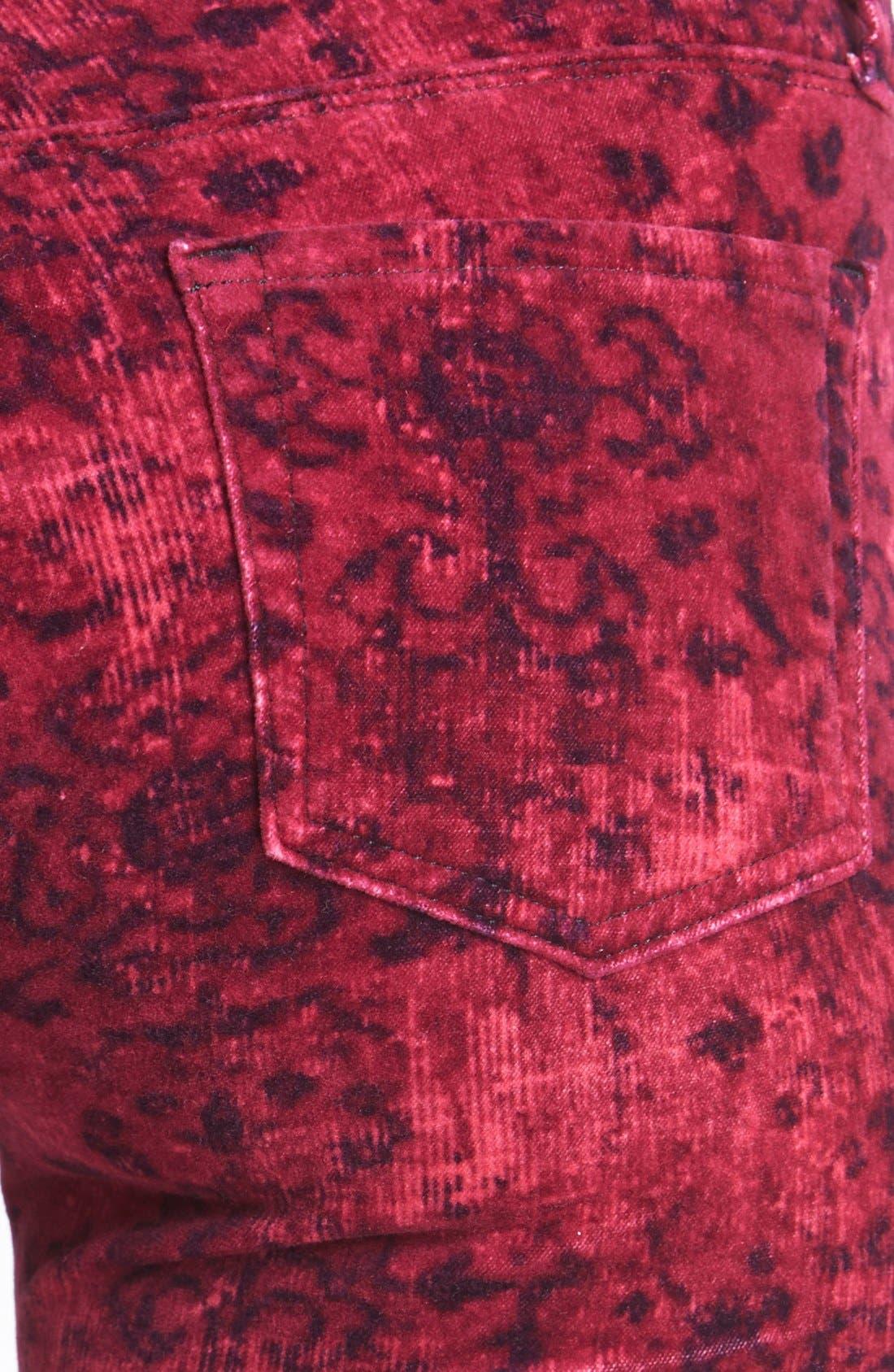 Alternate Image 3  - J Brand '815' Mid Rise Print Velveteen Super Skinny Jeans (Gaya)