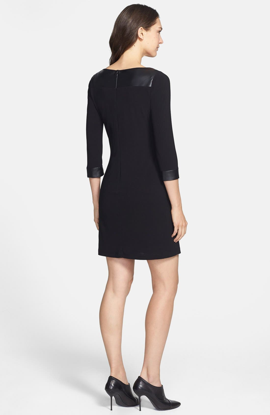 Alternate Image 2  - Marc New York by Andrew Marc Faux Leather Trim Crepe Shift Dress