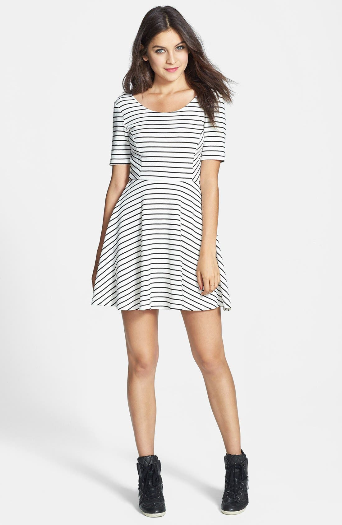 Alternate Image 5  - Lush Scoop Back Skater Dress (Juniors)