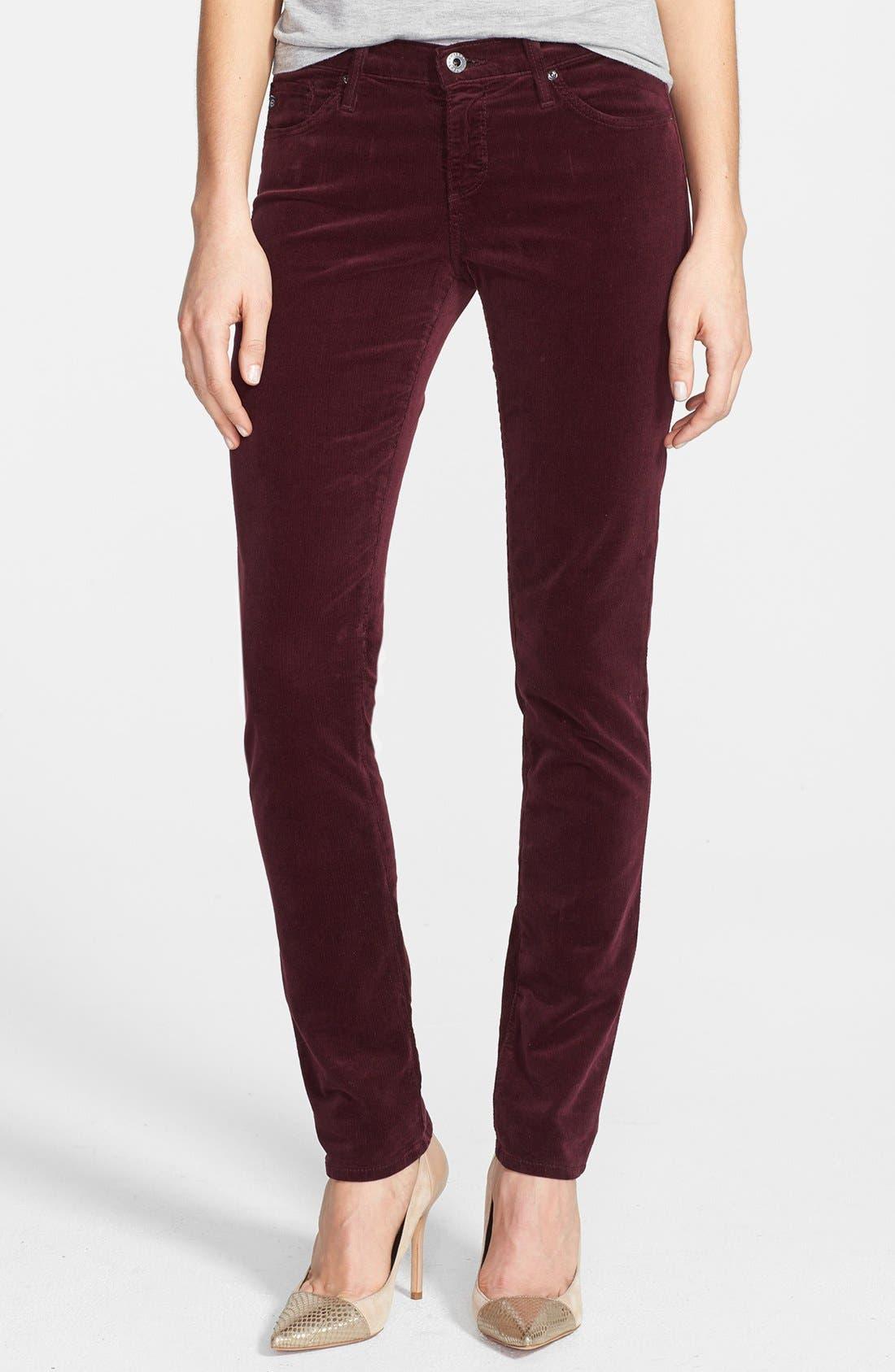 Alternate Image 1 Selected - AG Jeans 'Stilt' Skinny Stretch Velvet Pants