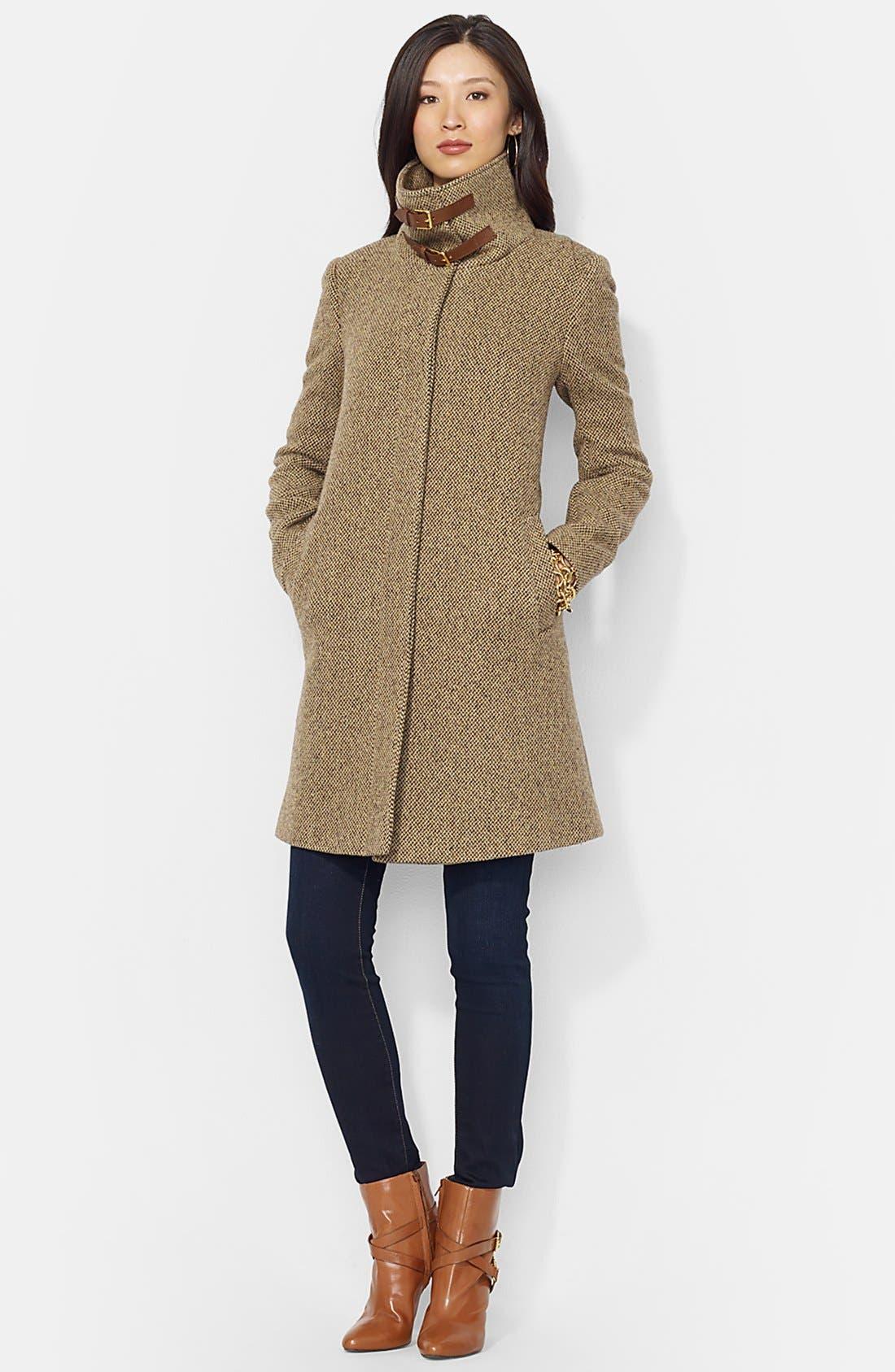 Main Image - Lauren Ralph Lauren Buckle Tab Collar Wool Blend Coat (Online Only)