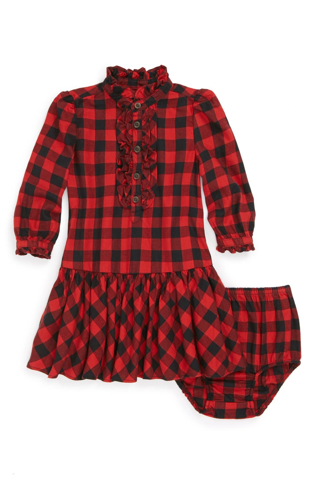 Alternate Image 1 Selected - Ralph Lauren Plaid Dress & Bloomers (Baby Girls)