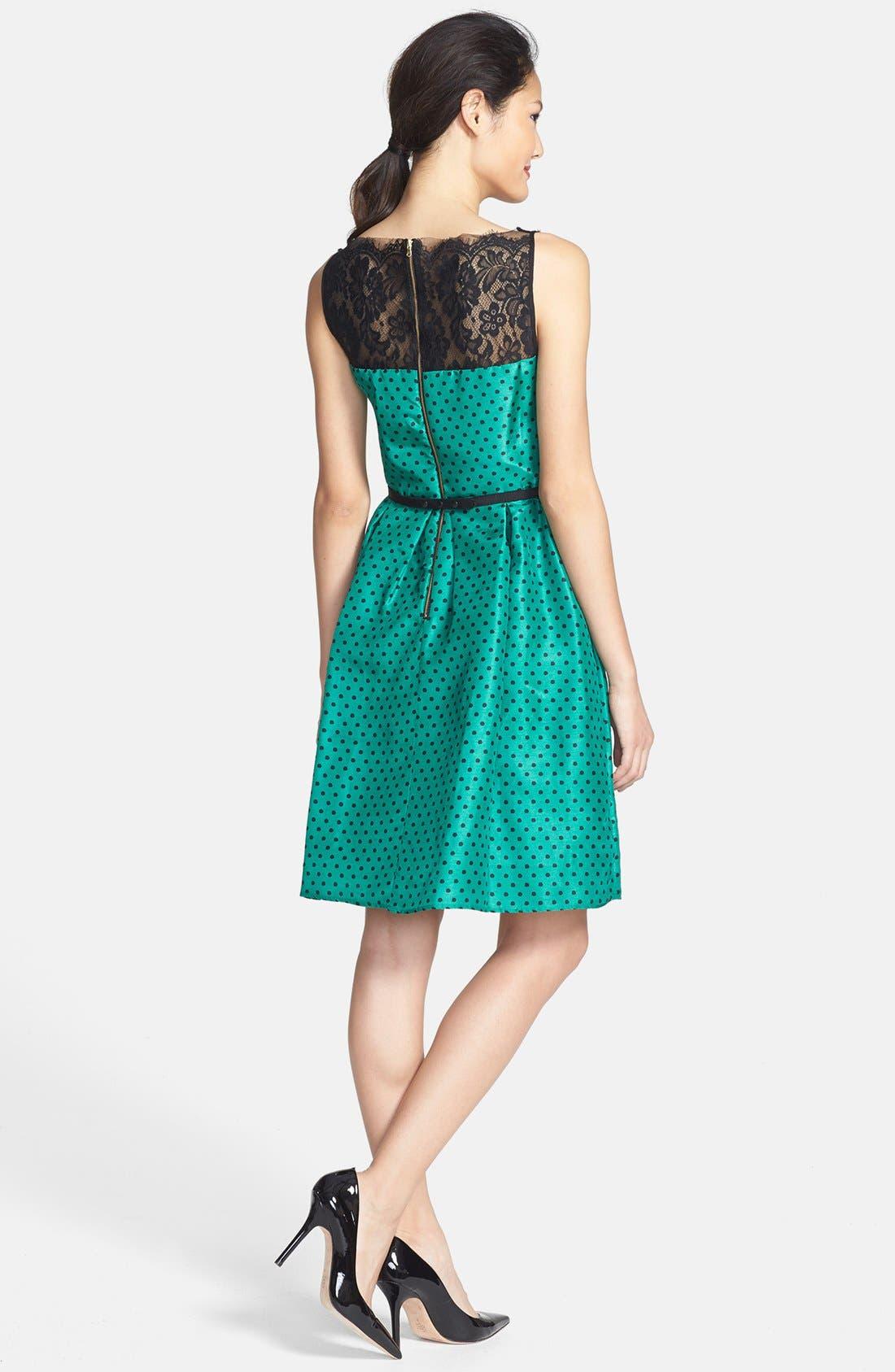 Alternate Image 2  - Taylor Dresses Polka Dot Taffeta Fit & Flare Dress