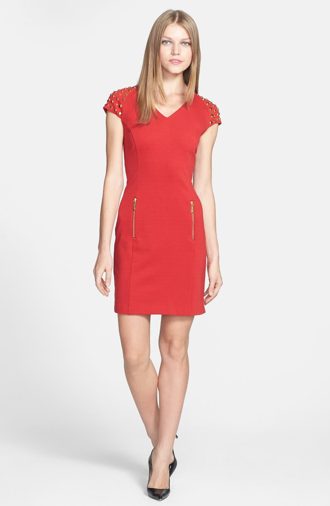 Main Image - MICHAEL Michael Kors Studded Sleeve Ponte Dress