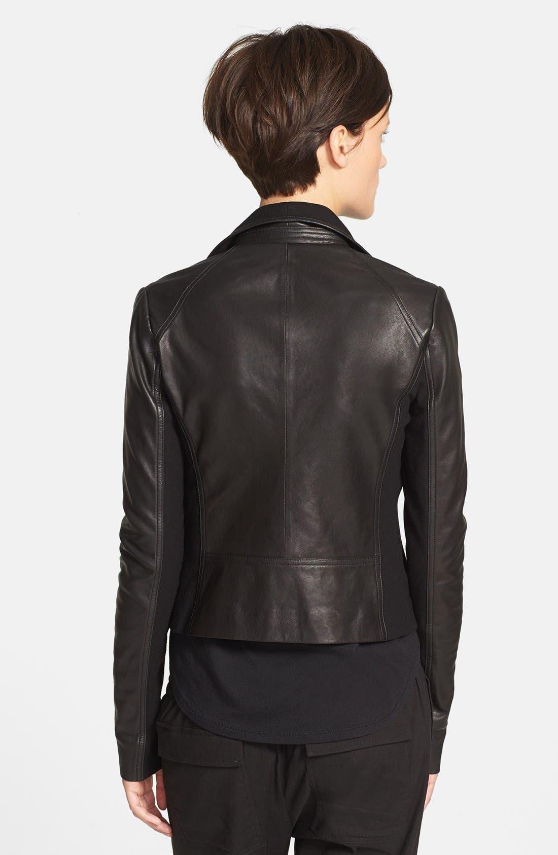 Alternate Image 2  - Vince Side Zip Leather Jacket with Ponte Contrast