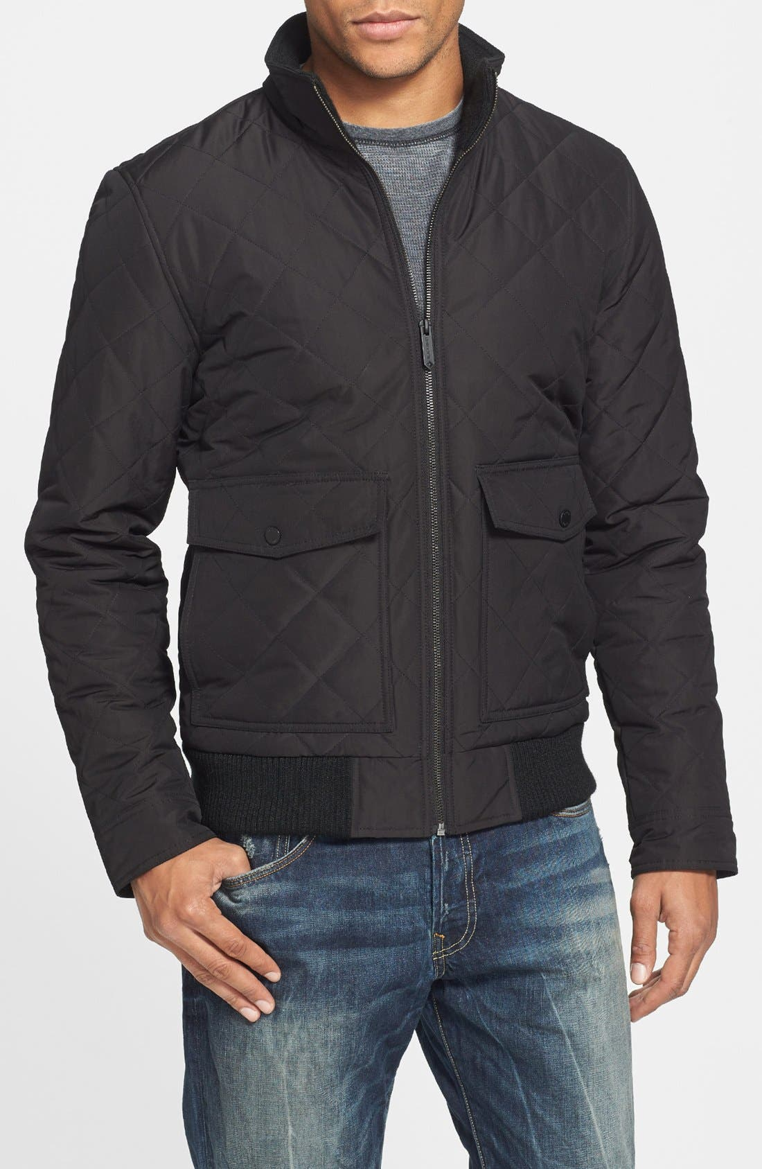 Main Image - Black Rivet Diamond Quilted Bomber Jacket