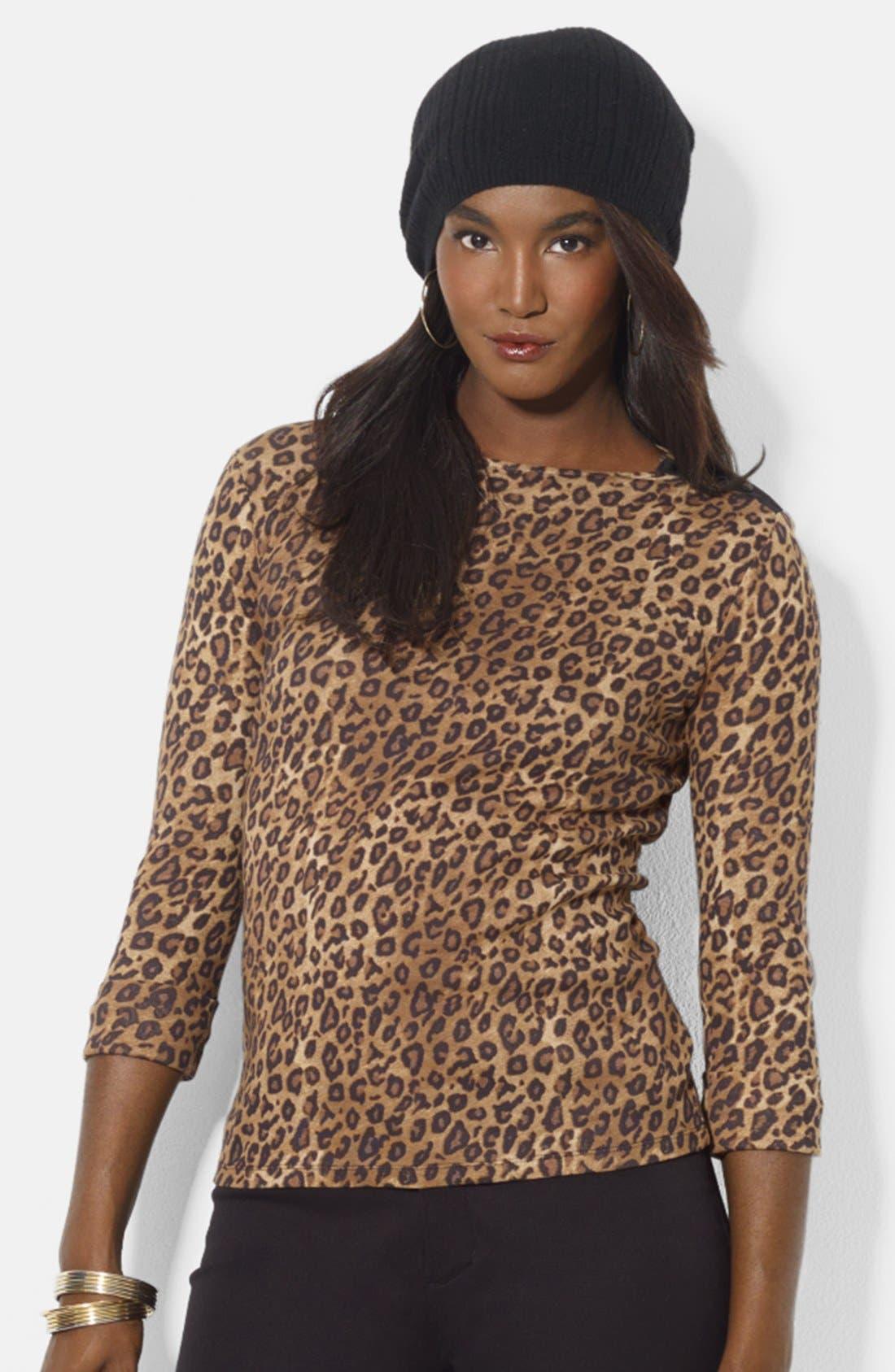 Main Image - Lauren Ralph Lauren Snap Shoulder Leopard Print Top (Petite)