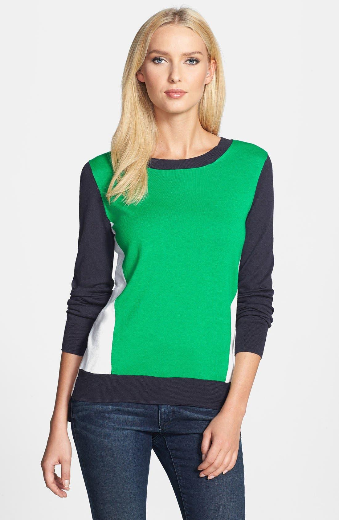 Alternate Image 1 Selected - MICHAEL Michael Kors Colorblock Cotton Blend Crewneck Sweater