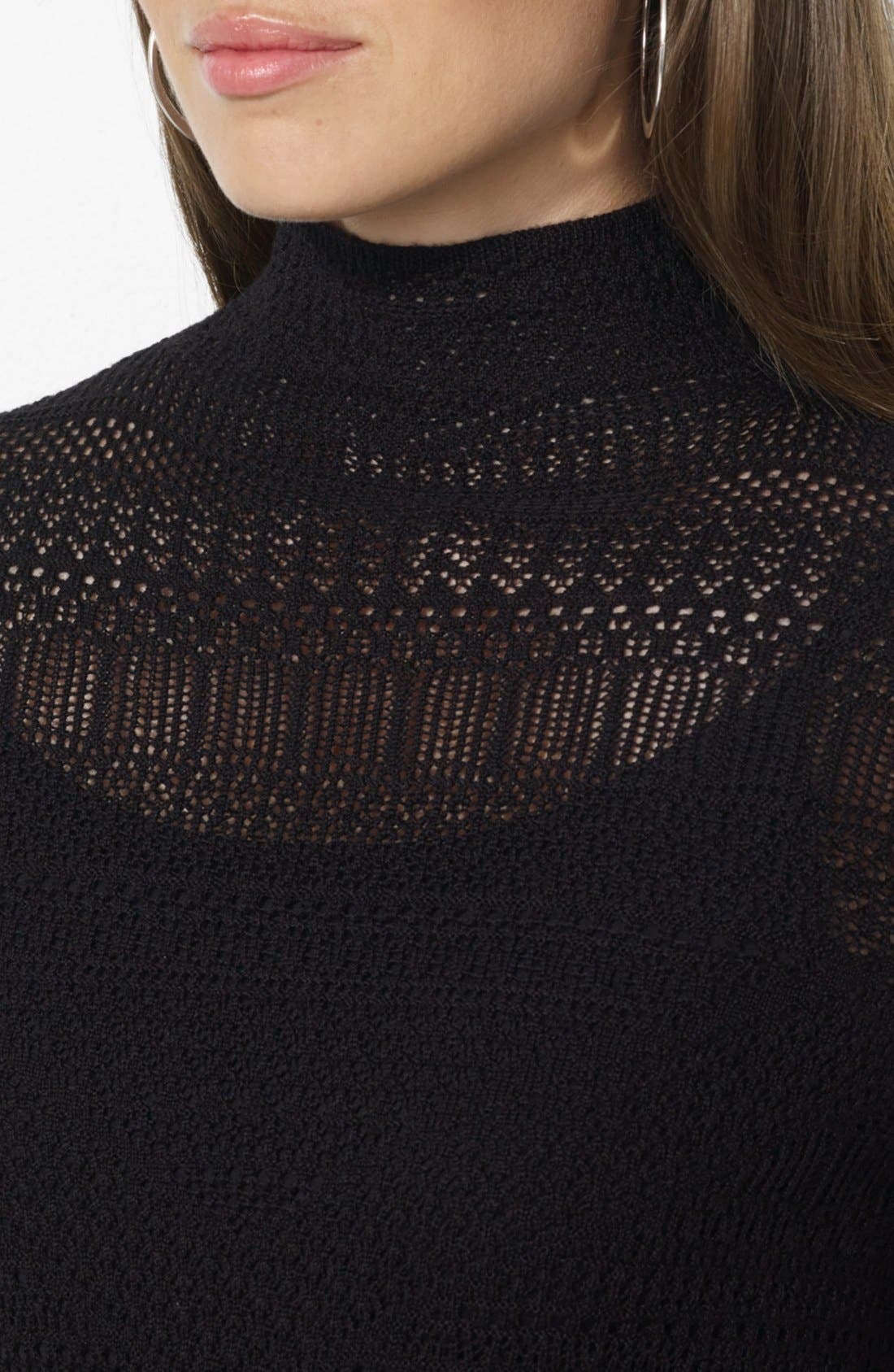 Alternate Image 3  - Lauren Ralph Lauren Mock Neck Pointelle Sweater Dress (Petite)