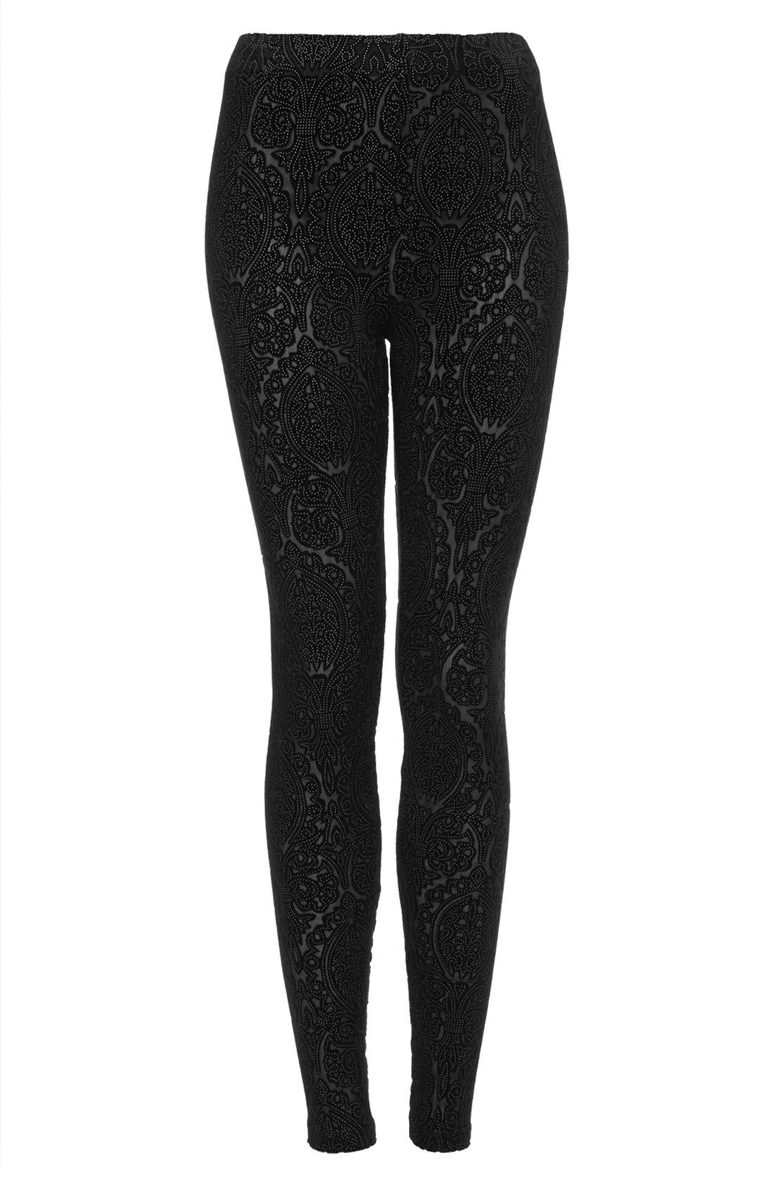 Alternate Image 3  - Topshop Burnout Velvet Leggings