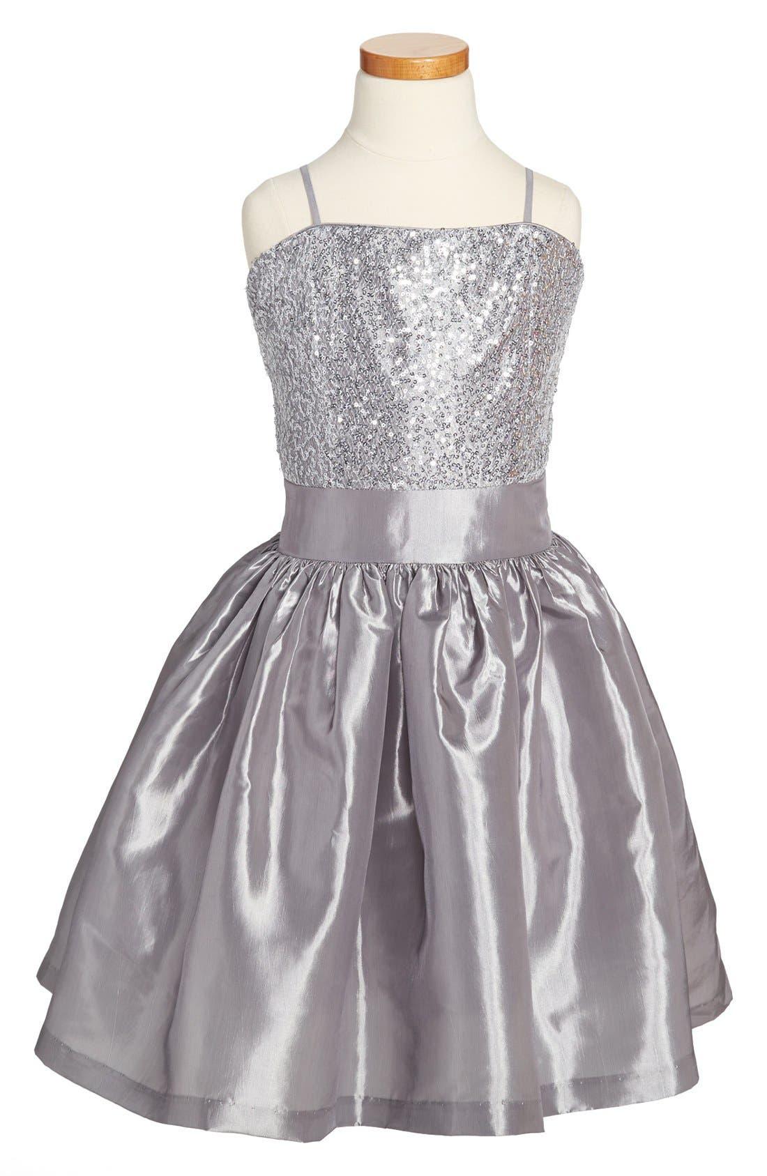 Alternate Image 1 Selected - Un Deux Trois Sequin Taffeta Dress (Big Girls)