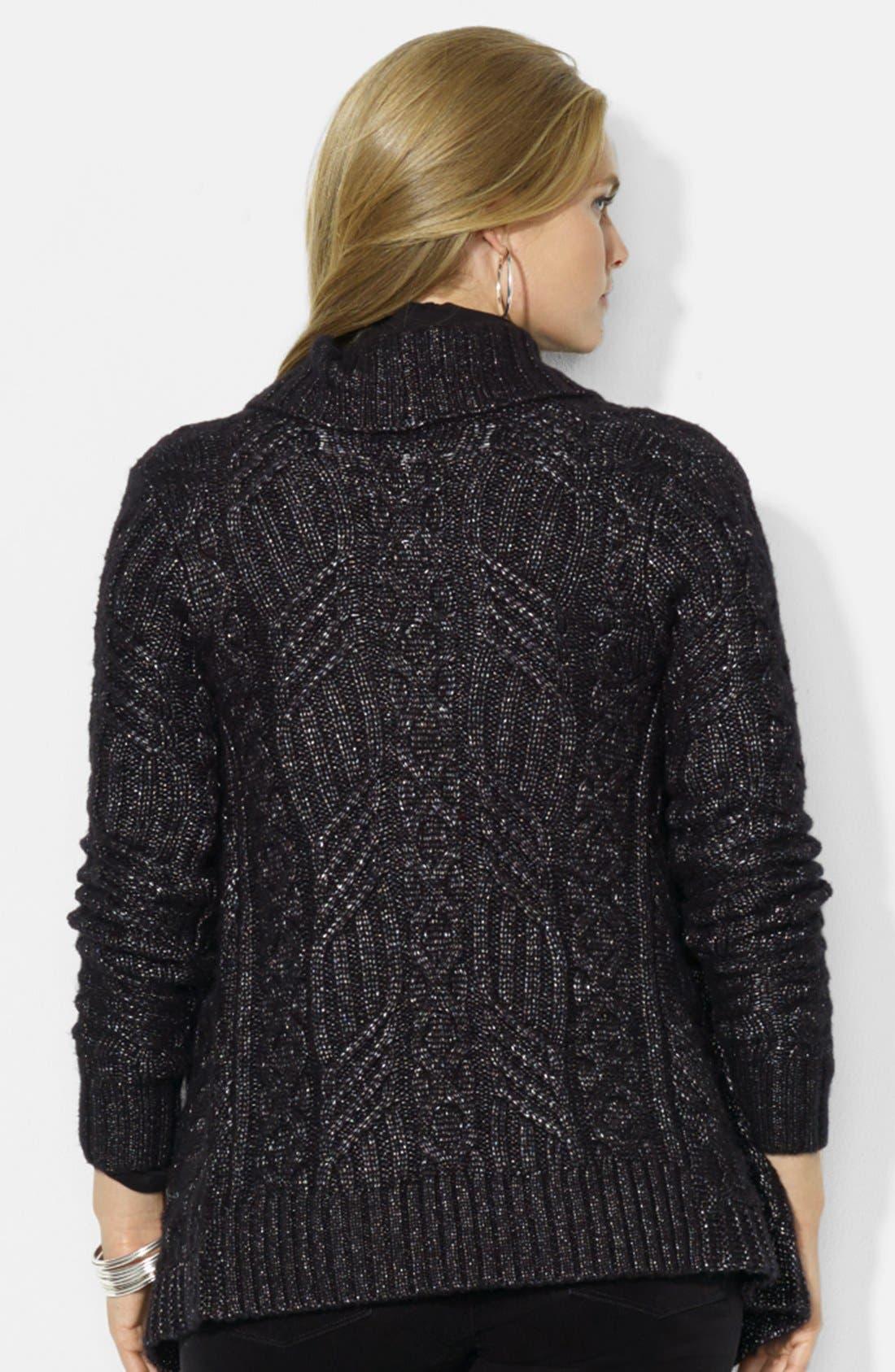 Alternate Image 2  - Lauren Ralph Lauren Open Front Shimmer Cardigan (Plus Size)