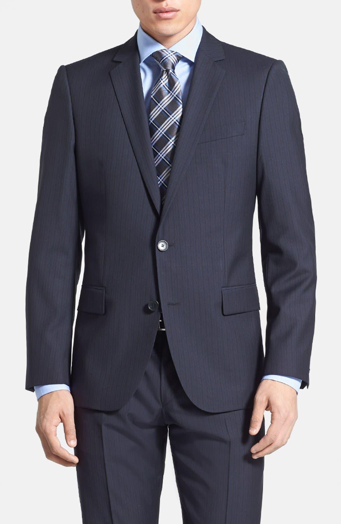 Alternate Image 3  - HUGO 'Amaro/Heise' Trim Fit Wool Blend Suit