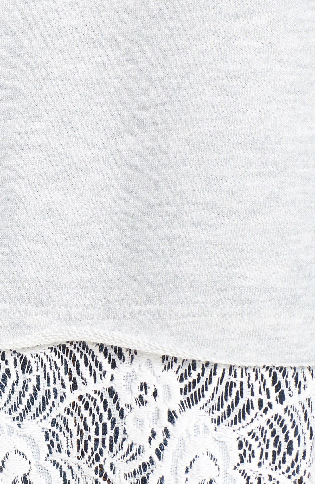 Alternate Image 3  - Bobeau Lace Bottom Sweatshirt