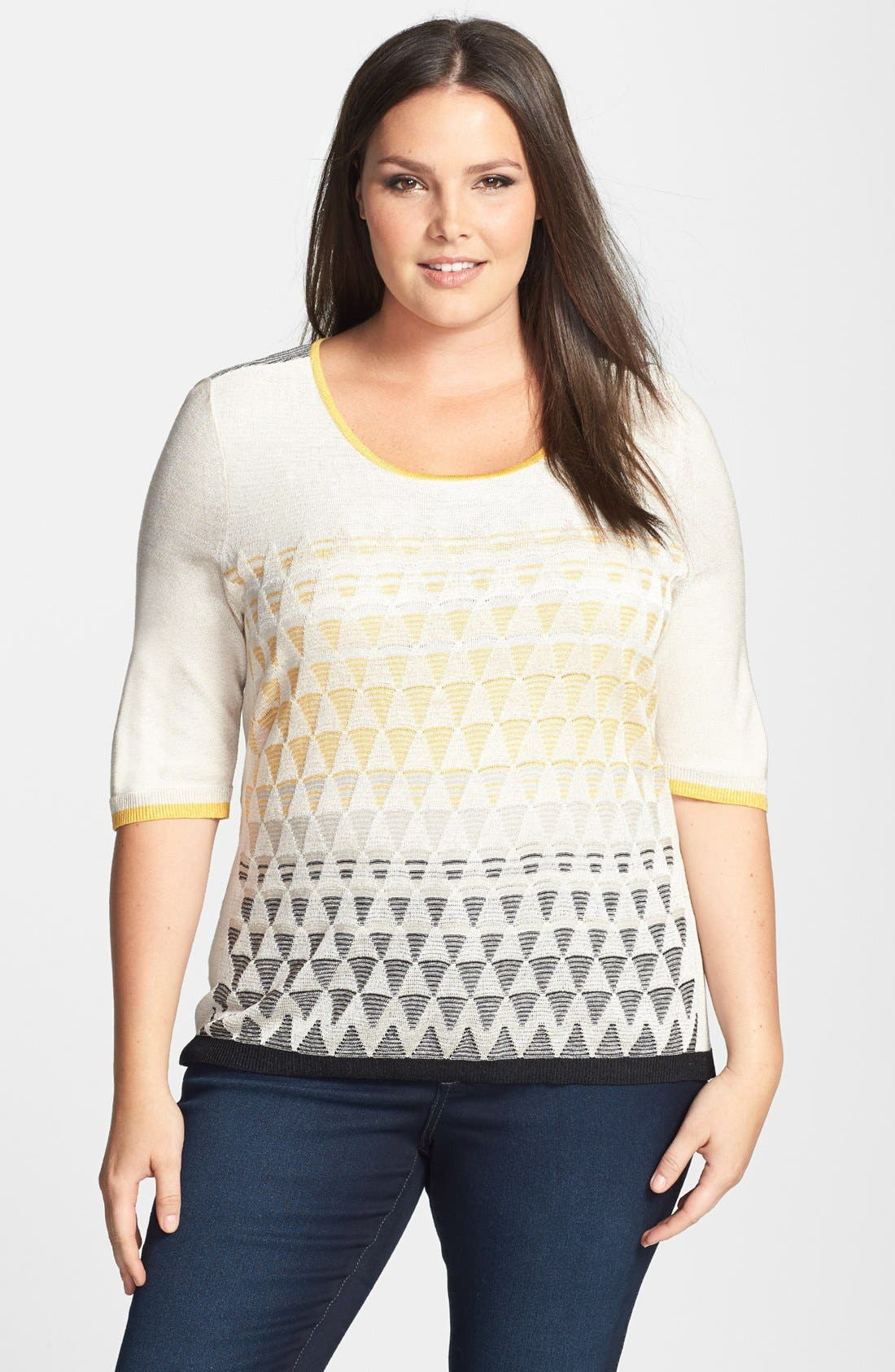Alternate Image 1 Selected - NIC+ZOE 'Ombréd Angles' Silk Blend Top (Plus Size)