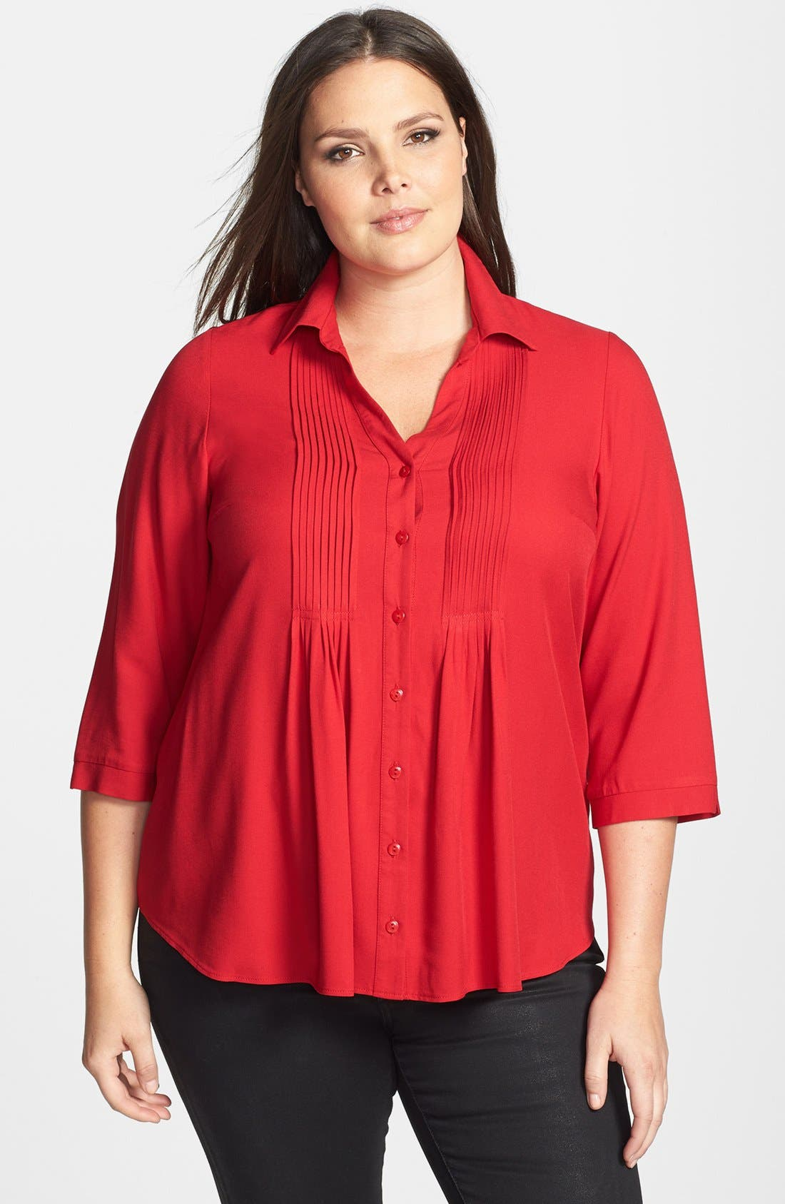 Alternate Image 1 Selected - Evans Twill Pintucked Shirt (Plus Size)