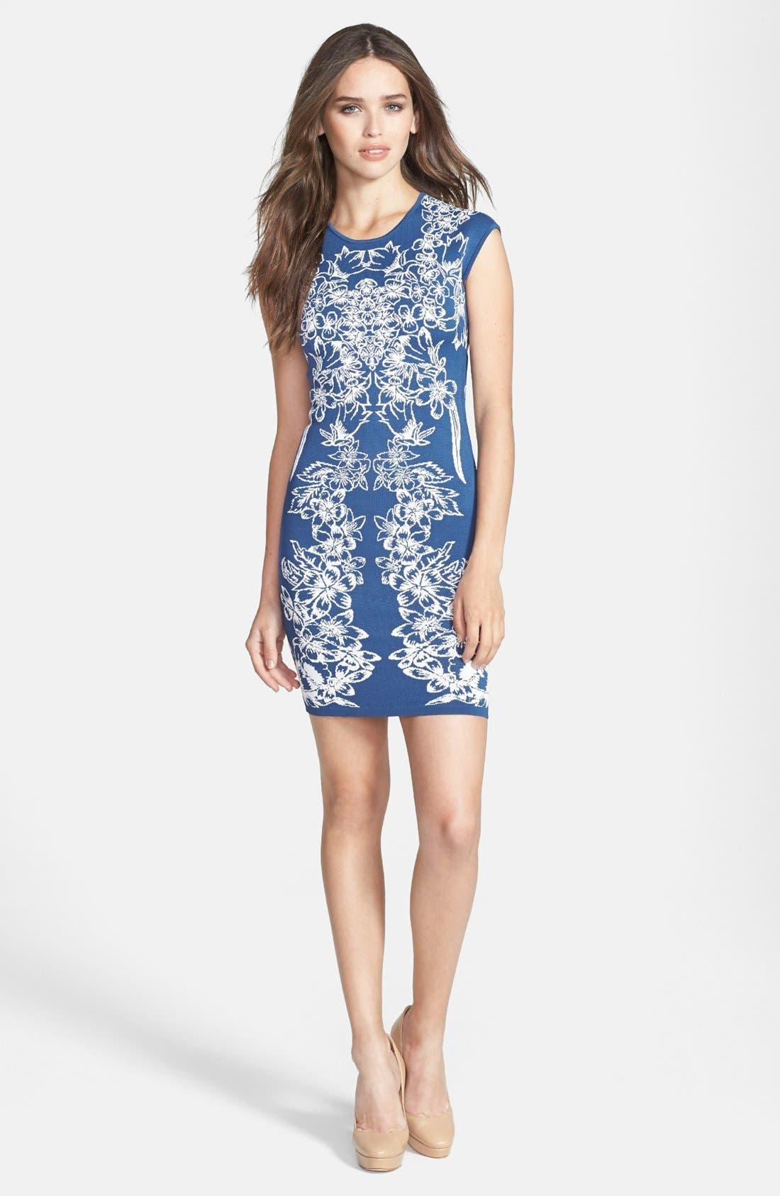 Main Image - BCBGMAXAZRIA Floral Jacquard Body-Con Dress