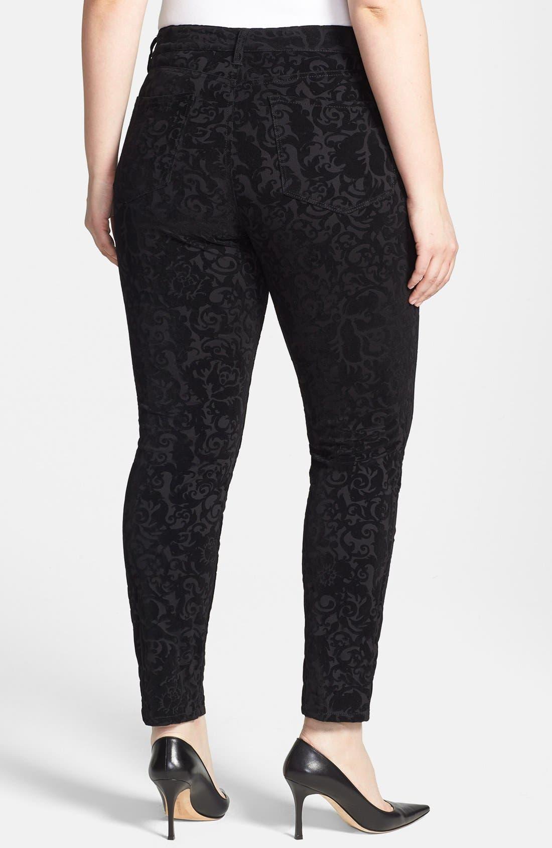 Alternate Image 2  - NYDJ 'Sheri' Flocked Stretch Skinny Jeans (Plus Size)