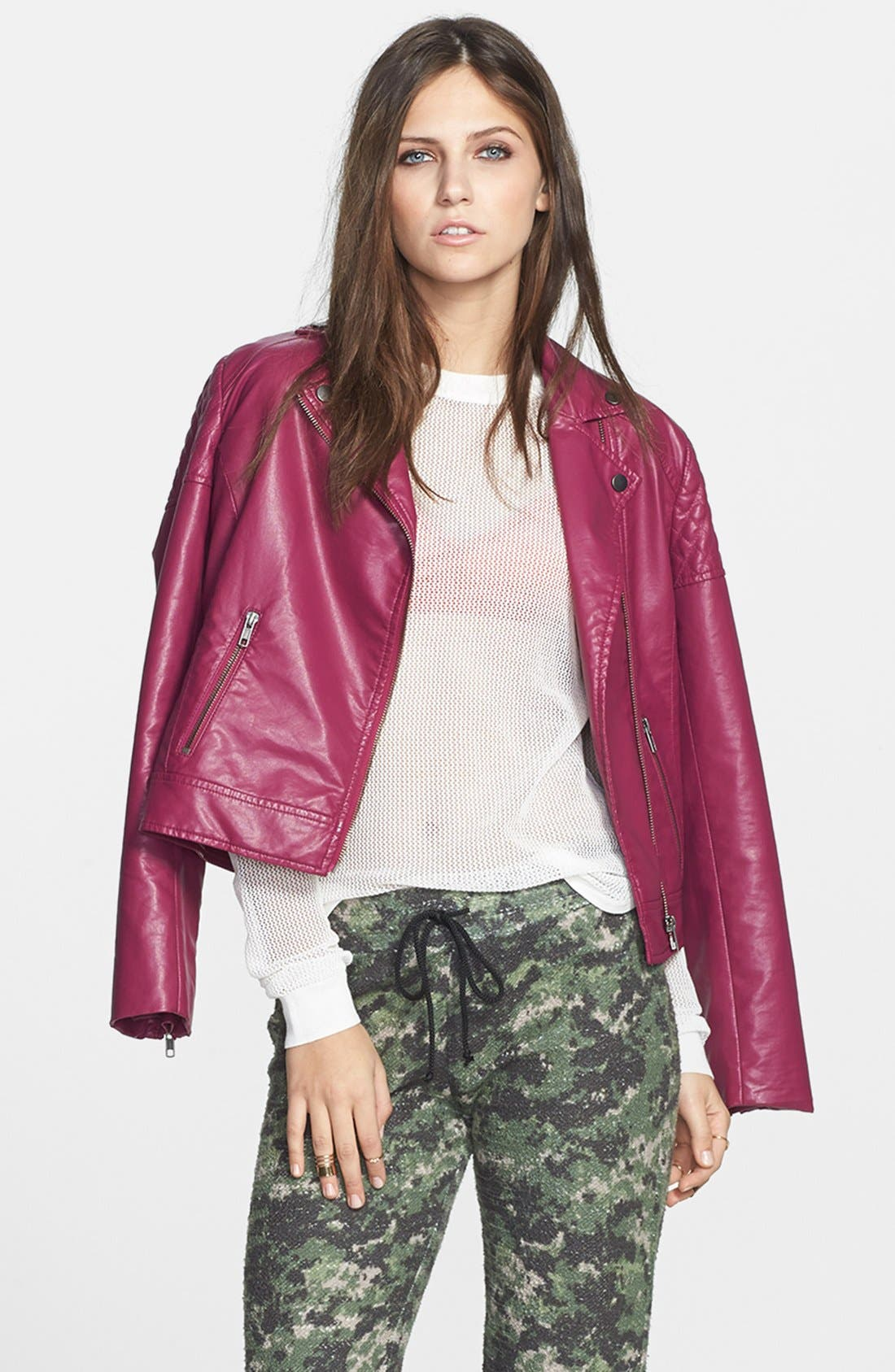 Main Image - Mural Quilted Shoulder Faux Leather Moto Jacket