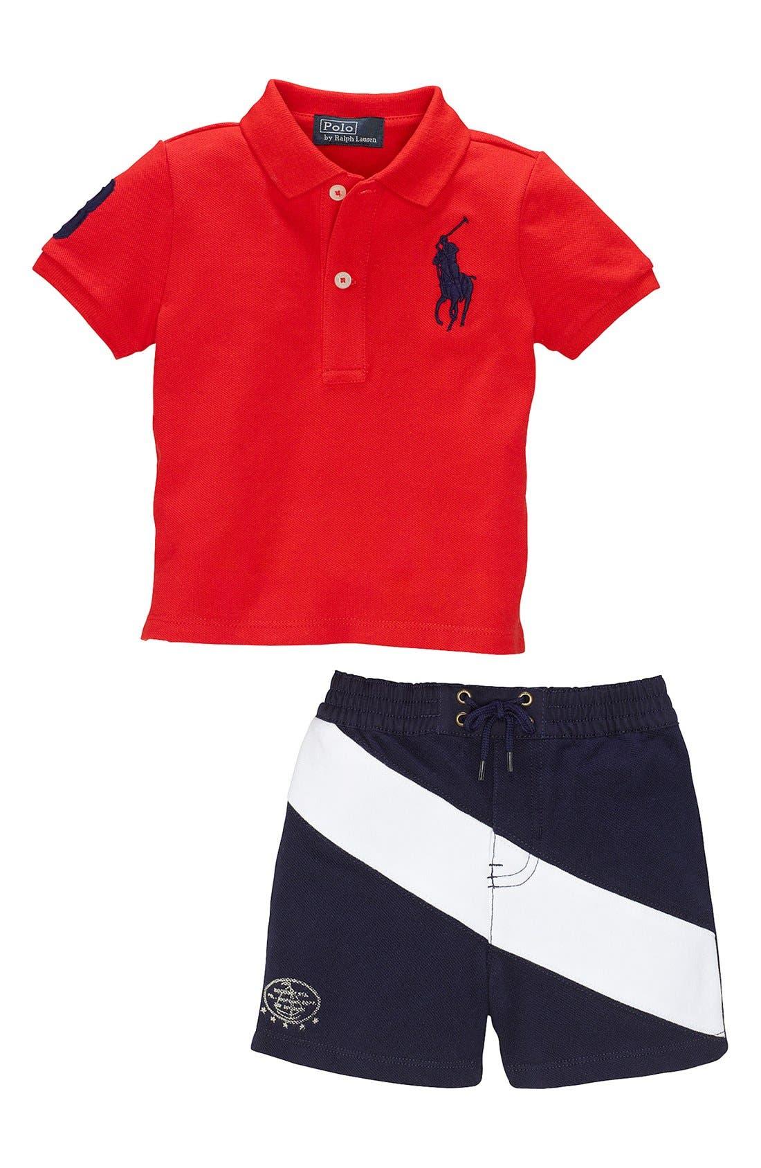 Alternate Image 2  - Ralph Lauren Polo & Banner Stripe Shorts (Baby Boys)