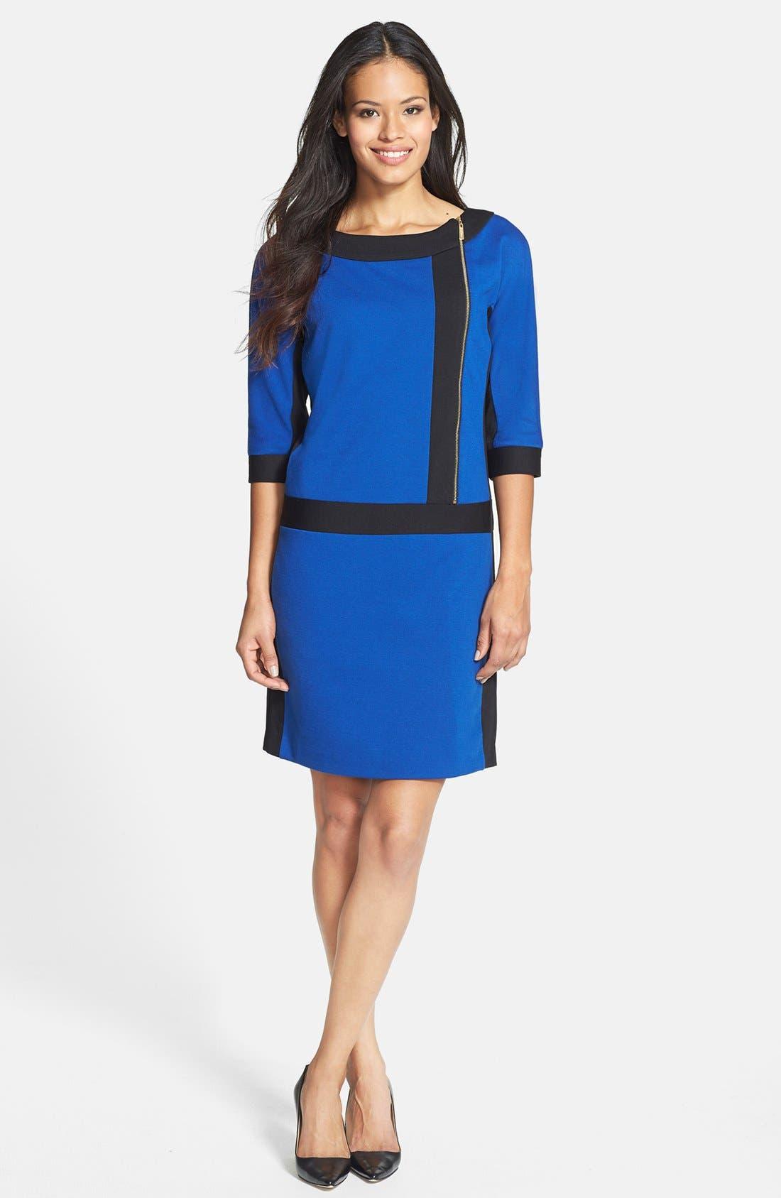 Alternate Image 2  - Ellen Tracy Front Zip Colorblock Ponte Knit Shift Dress