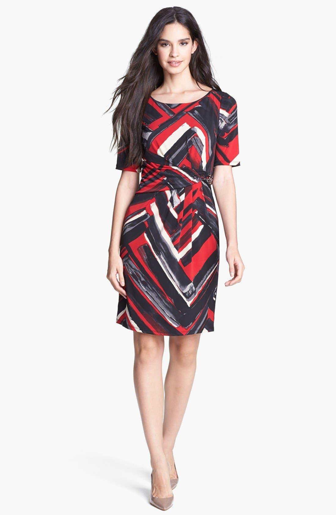 Main Image - Ellen Tracy Print Side Tie Jersey Dress (Petite)