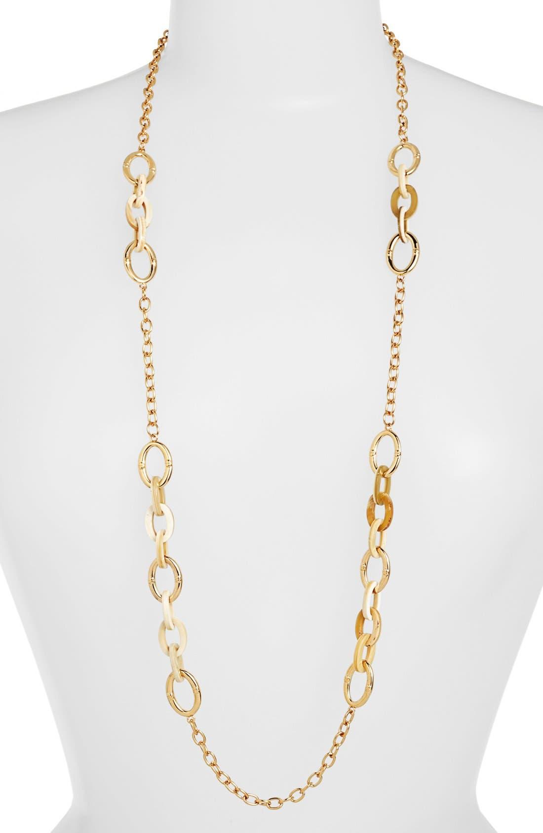 Alternate Image 1 Selected - Lauren Ralph Lauren Horn & Chain Long Necklace
