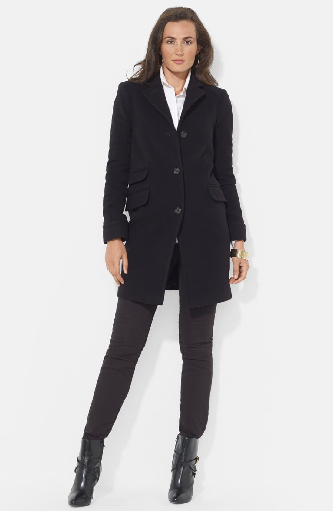 Alternate Image 1 Selected - Lauren Ralph Lauren Wool Blend Coat (Regular & Petite)