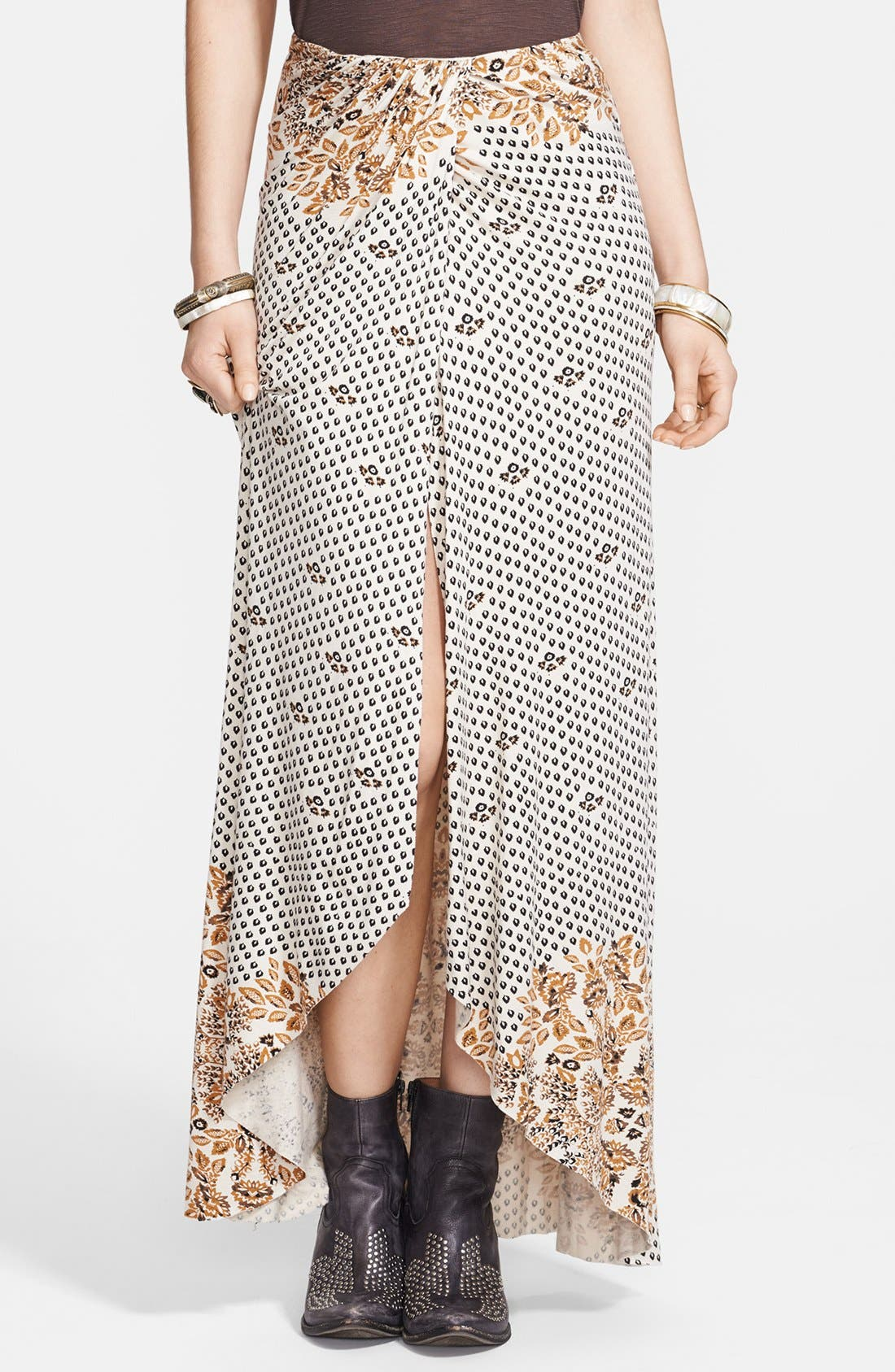 Alternate Image 1 Selected - Free People Print Draped Knit Column Skirt