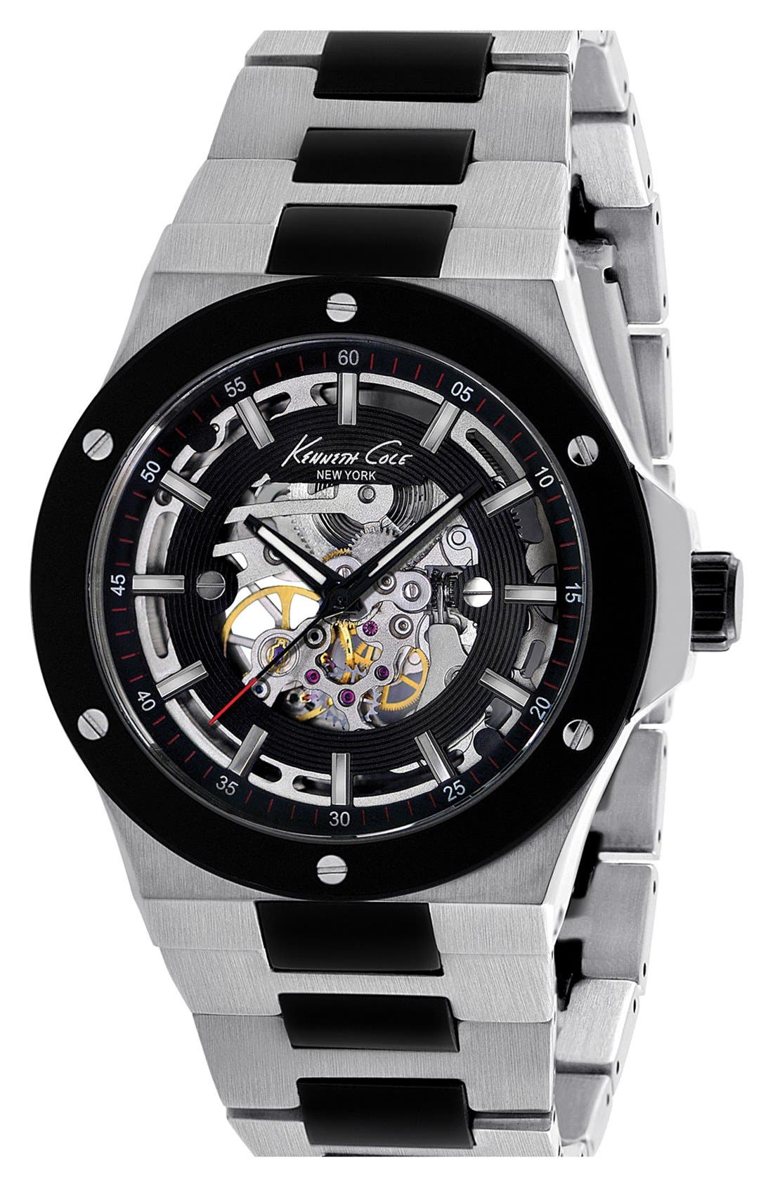 Main Image - Kenneth Cole New York Automatic Skeleton Dial Watch, 47mm ($250 Value)