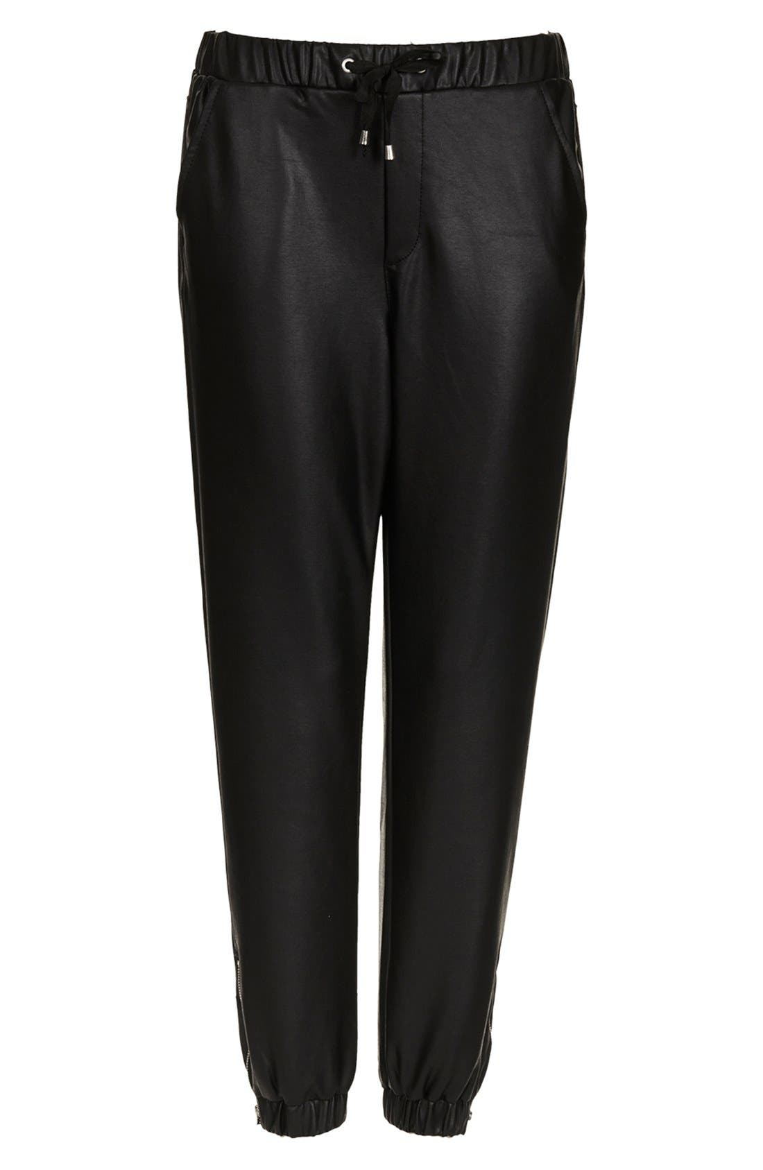 Alternate Image 3  - Topshop Faux Leather Track Pants