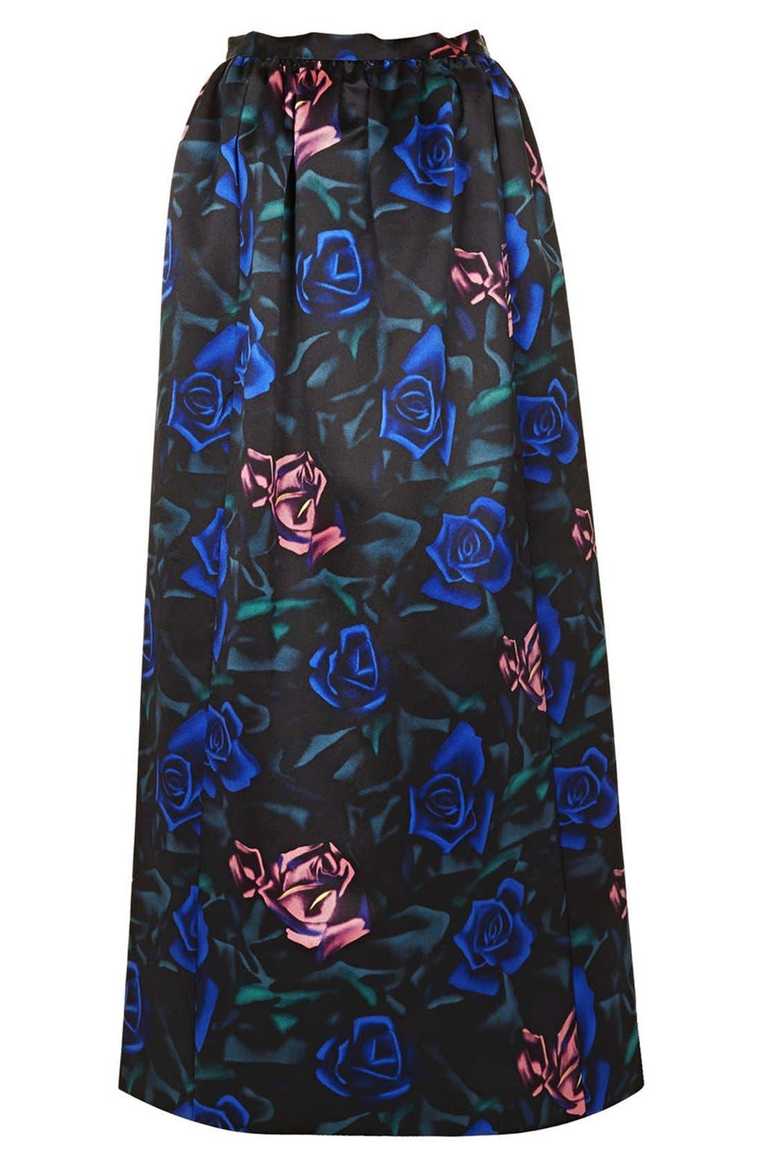 Alternate Image 3  - Topshop Rose Pattern Satin Maxi Skirt