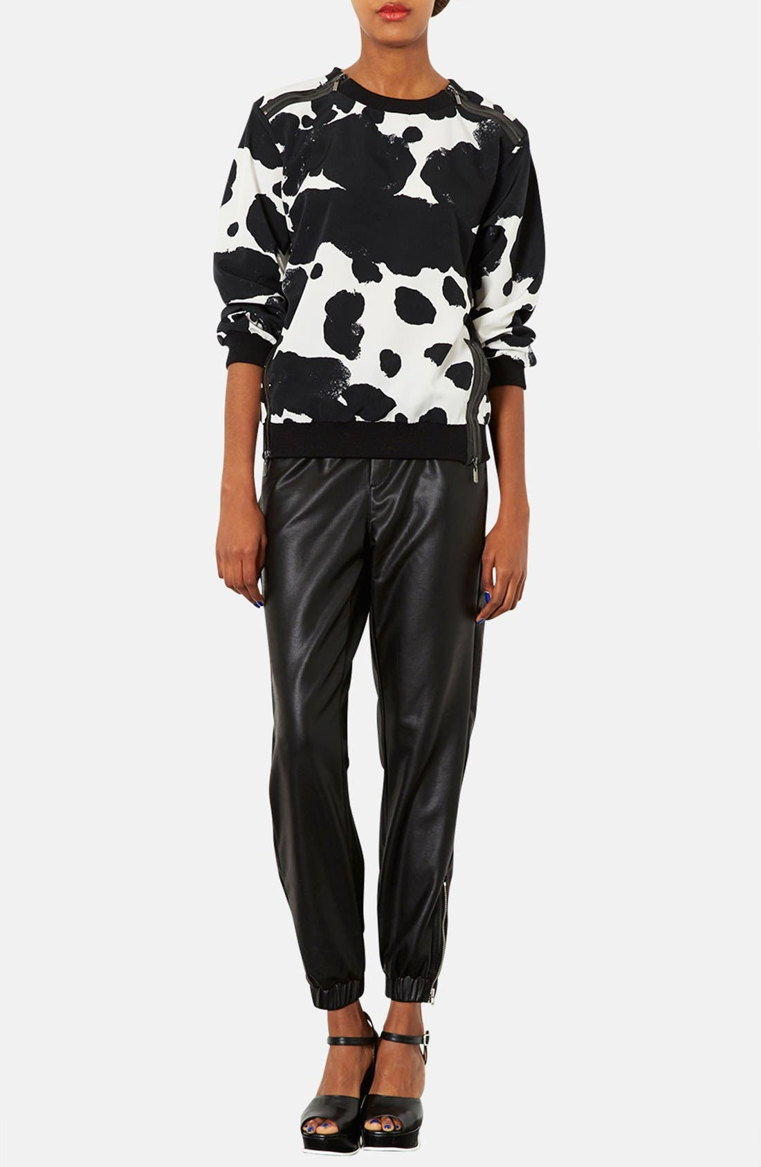 Alternate Image 4  - Topshop Faux Leather Track Pants