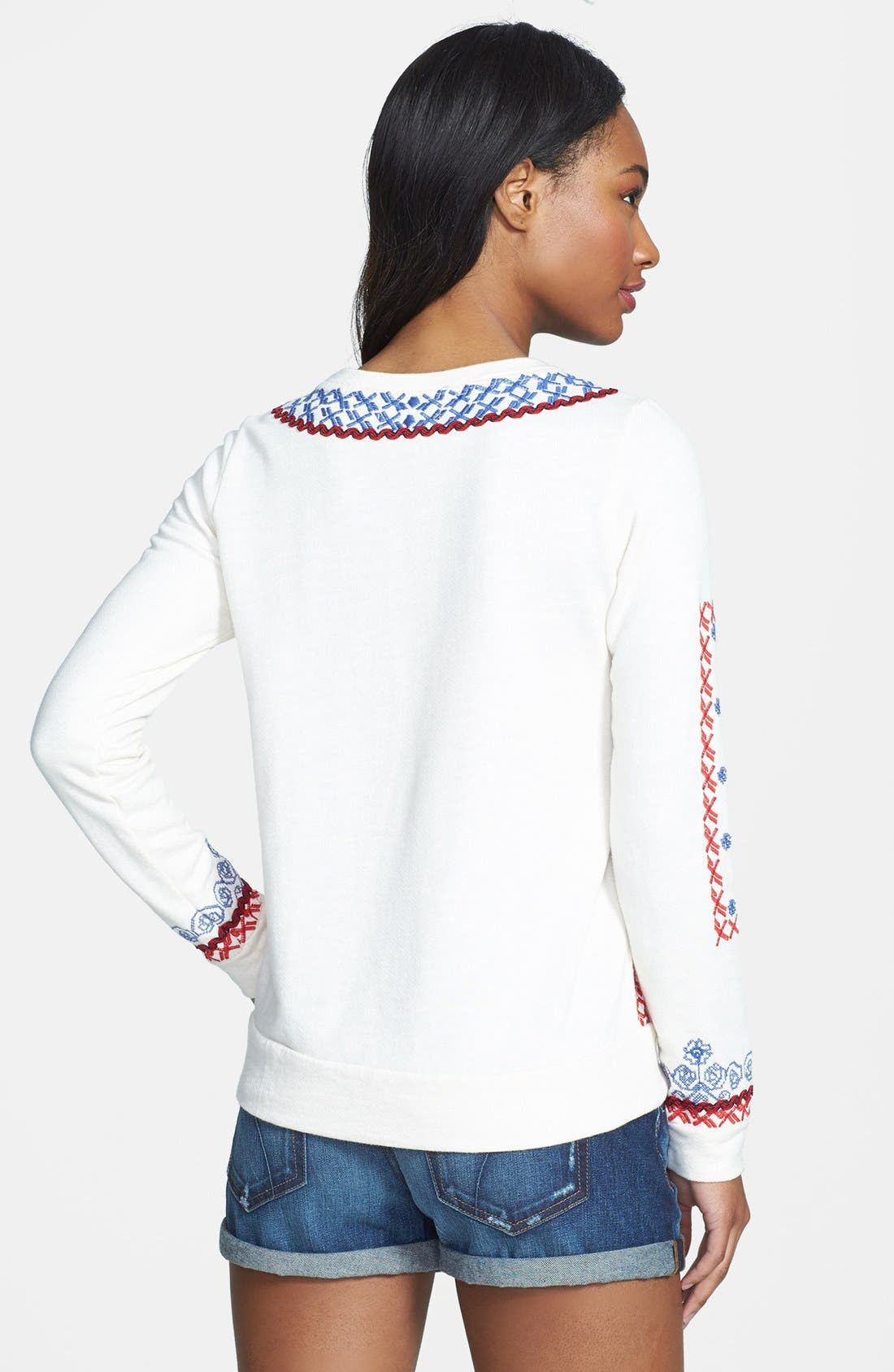 Alternate Image 2  - Lucky Brand Embroidered Sweatshirt