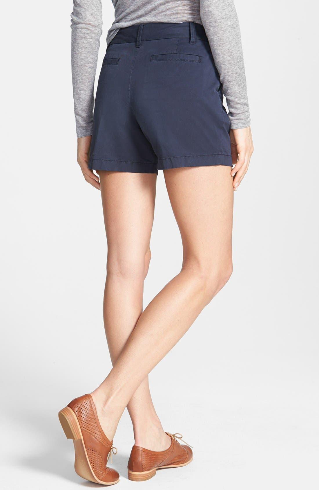 Alternate Image 2  - Caslon® Clean Front Five-Inch Shorts (Regular & Petite)